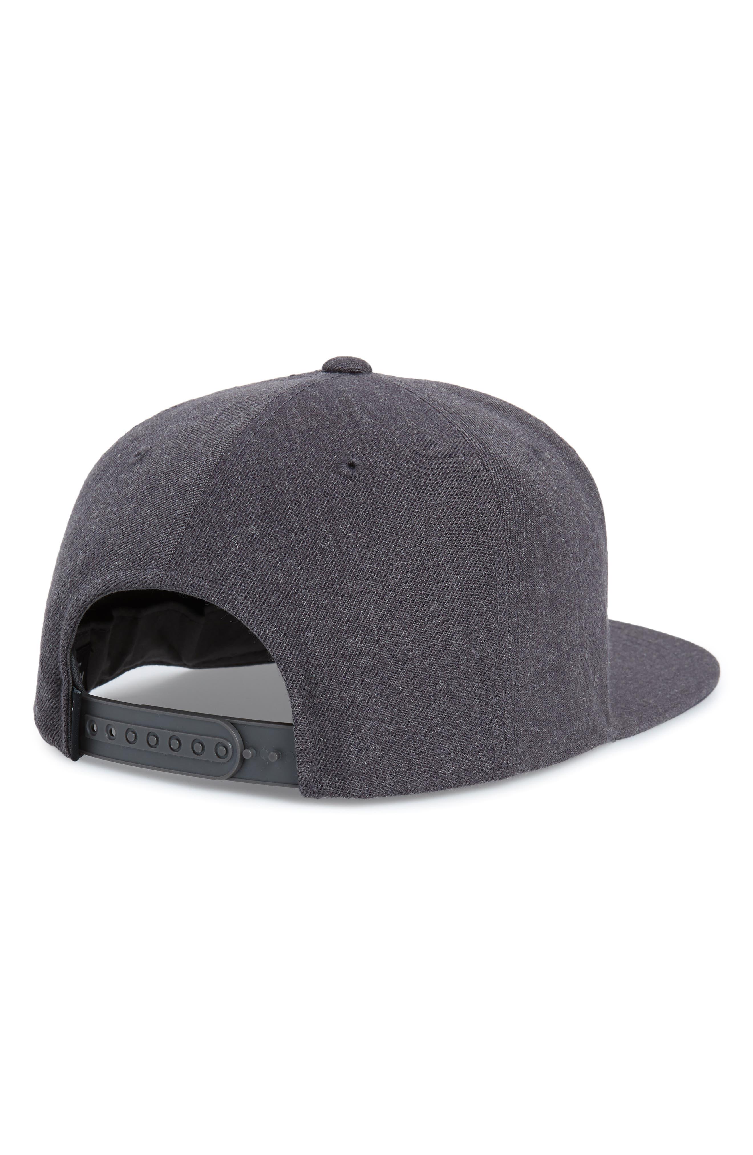 RVCA, 'VA' Snapback Hat, Alternate thumbnail 2, color, DARK CHARCOAL HEATHER