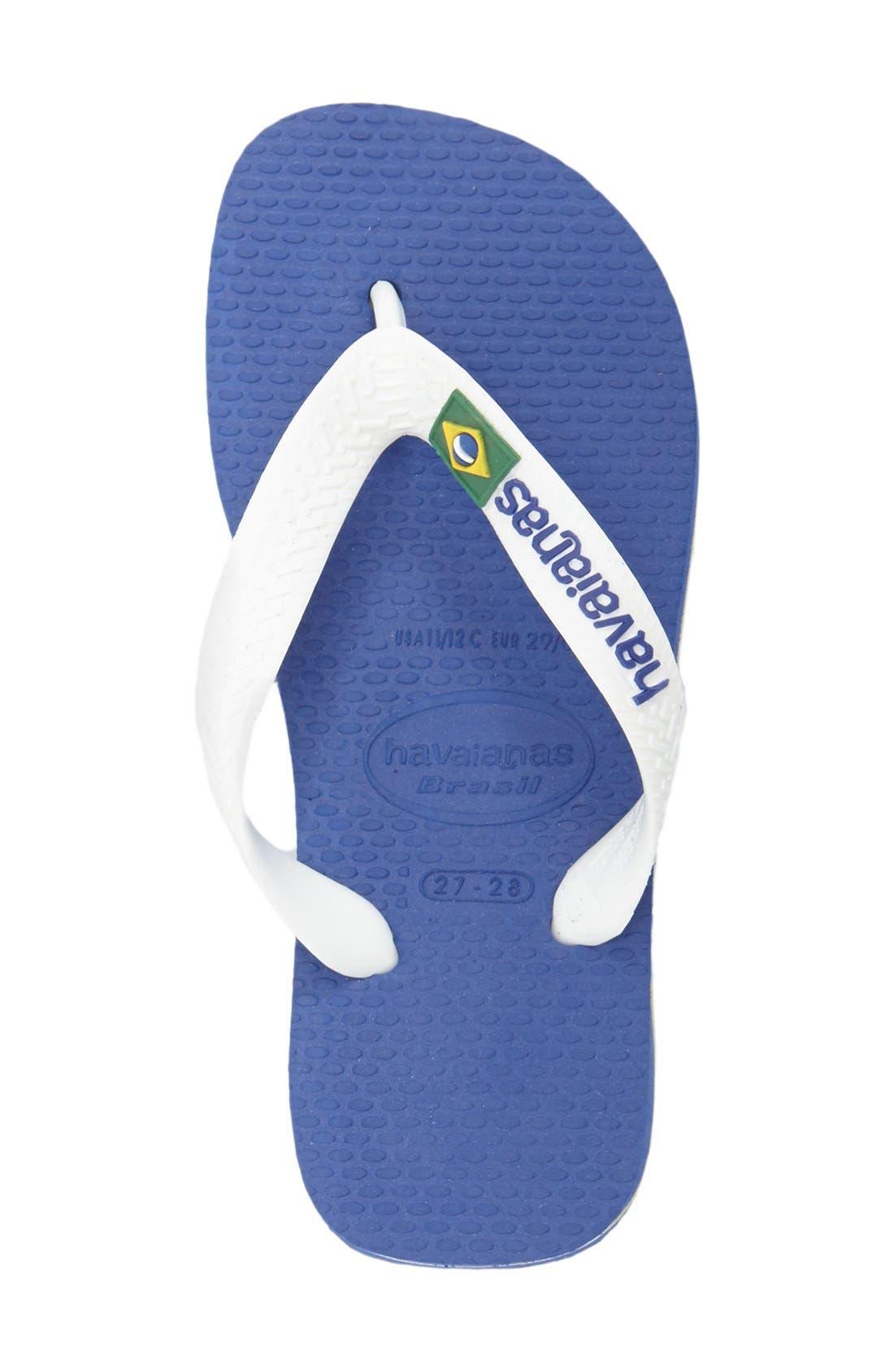 HAVAIANAS, 'Brazil Logo' Flip Flop, Alternate thumbnail 4, color, BLUE
