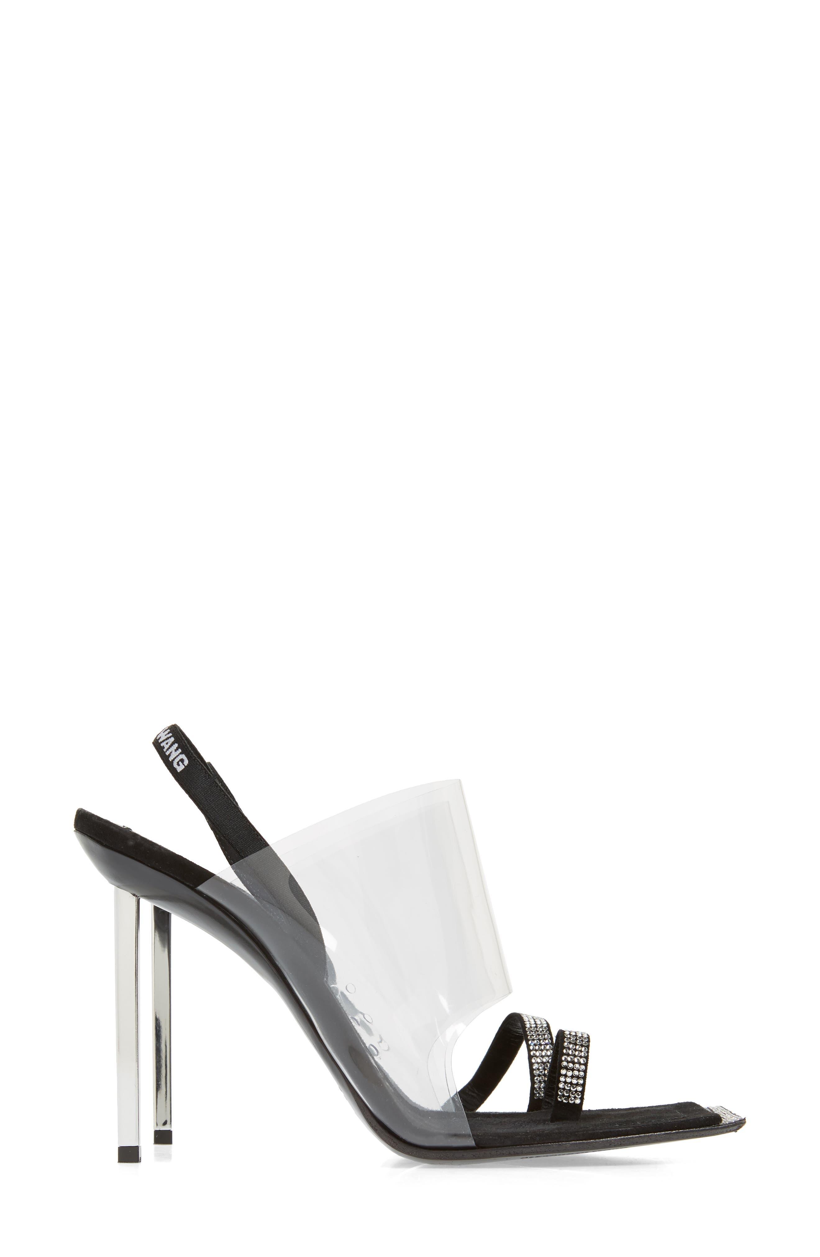 ALEXANDER WANG, Clear Shield Sandal, Alternate thumbnail 4, color, BLACK