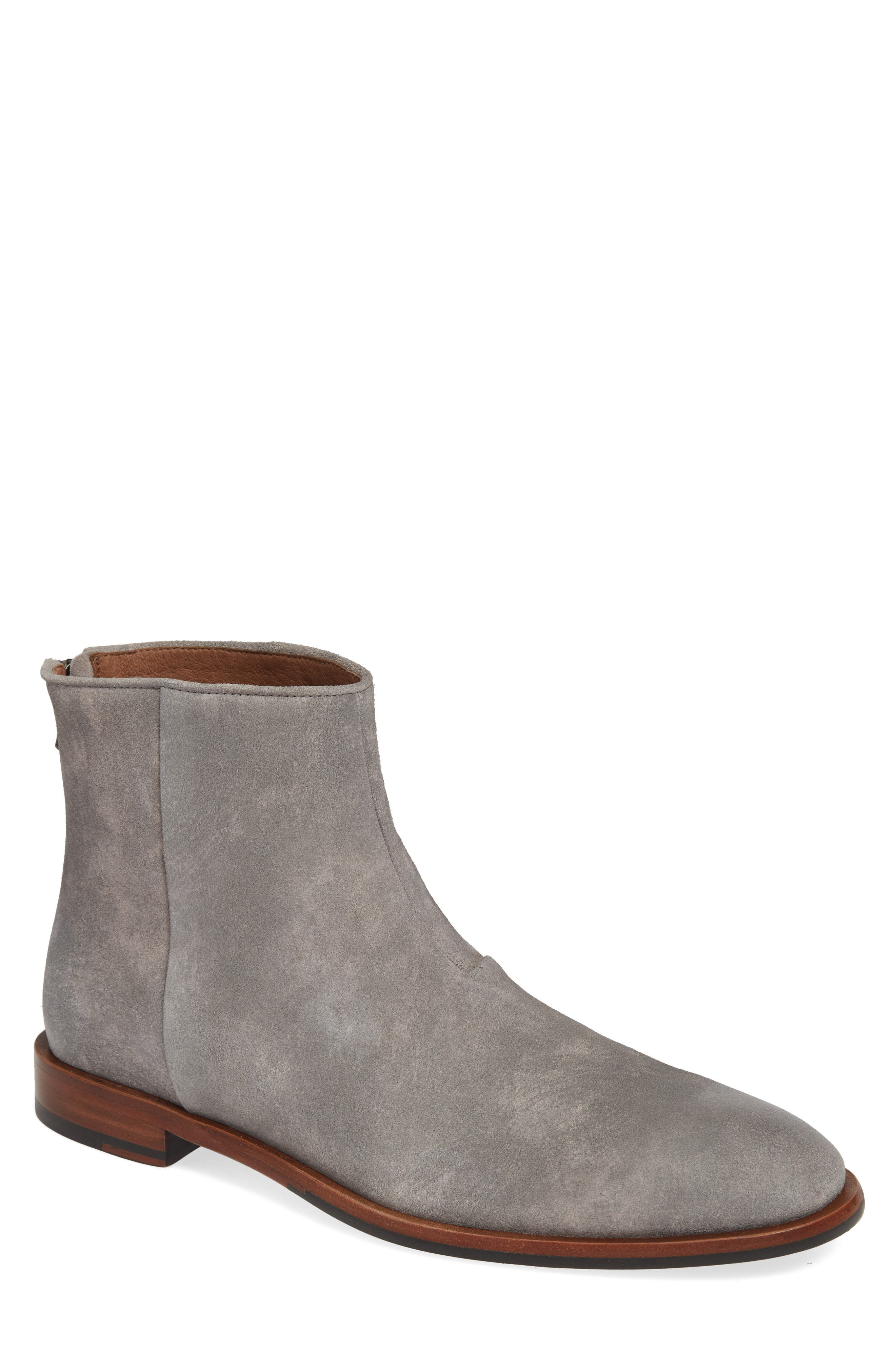 John Varvatos Star Usa Nyc Back Zip Boot- Grey