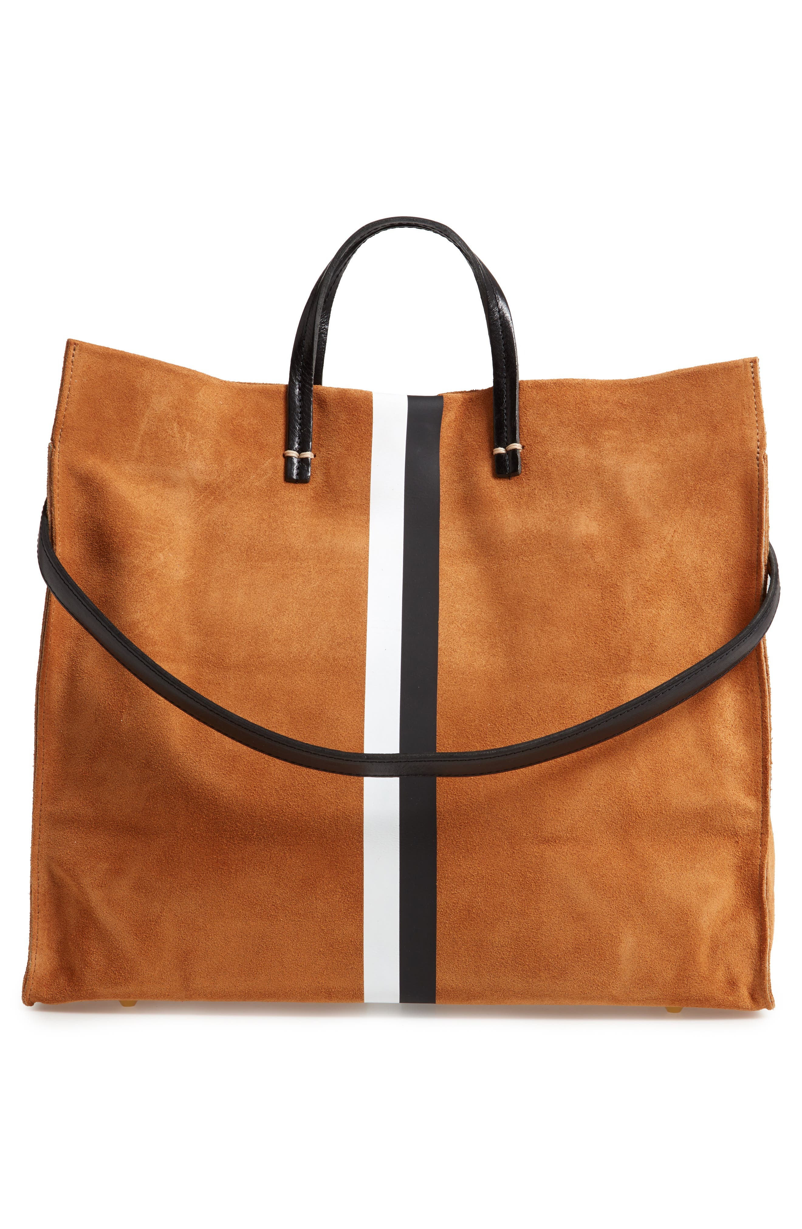 CLARE V., Simple Stripe Suede Tote, Alternate thumbnail 3, color, 205