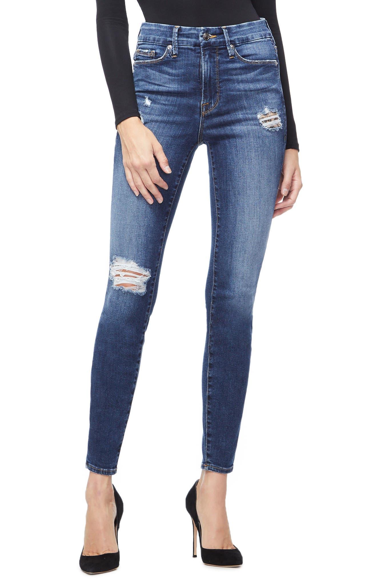GOOD AMERICAN, Good Legs Cheetah Pockets High Waist Jeans, Main thumbnail 1, color, BLUE203