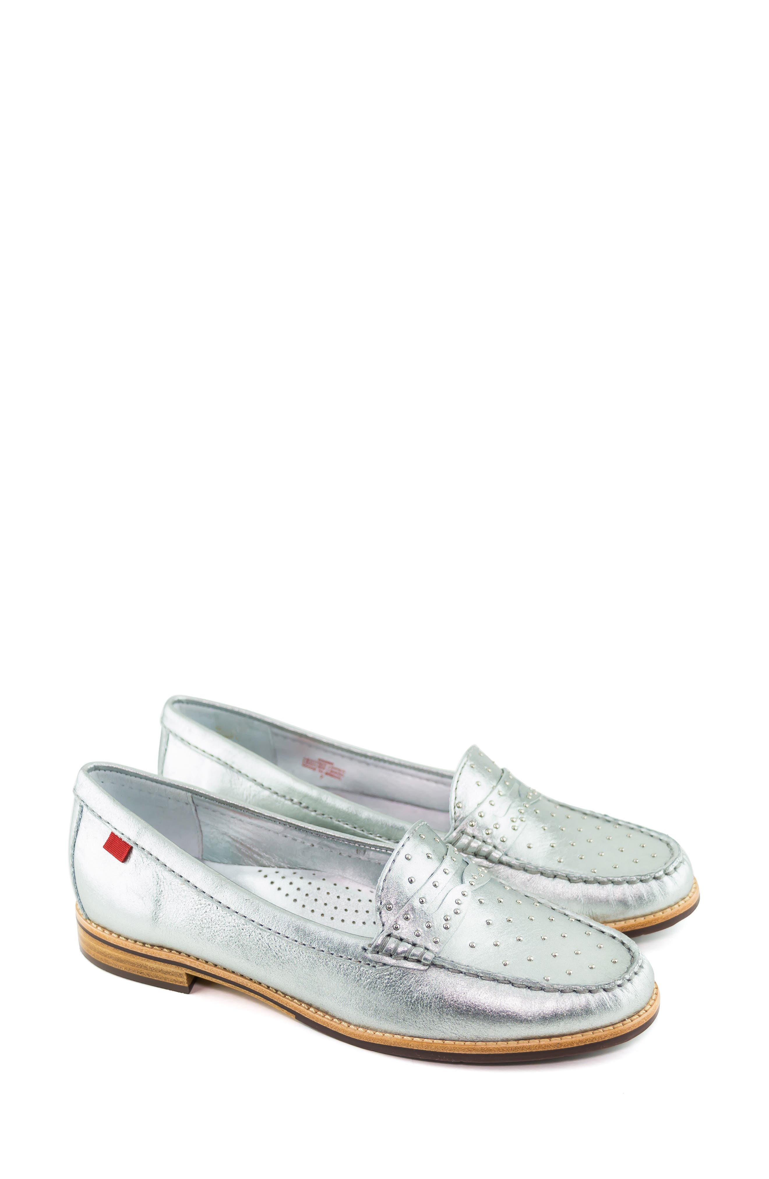 MARC JOSEPH NEW YORK, East Village III Studded Loafer, Alternate thumbnail 7, color, SILVER LEATHER