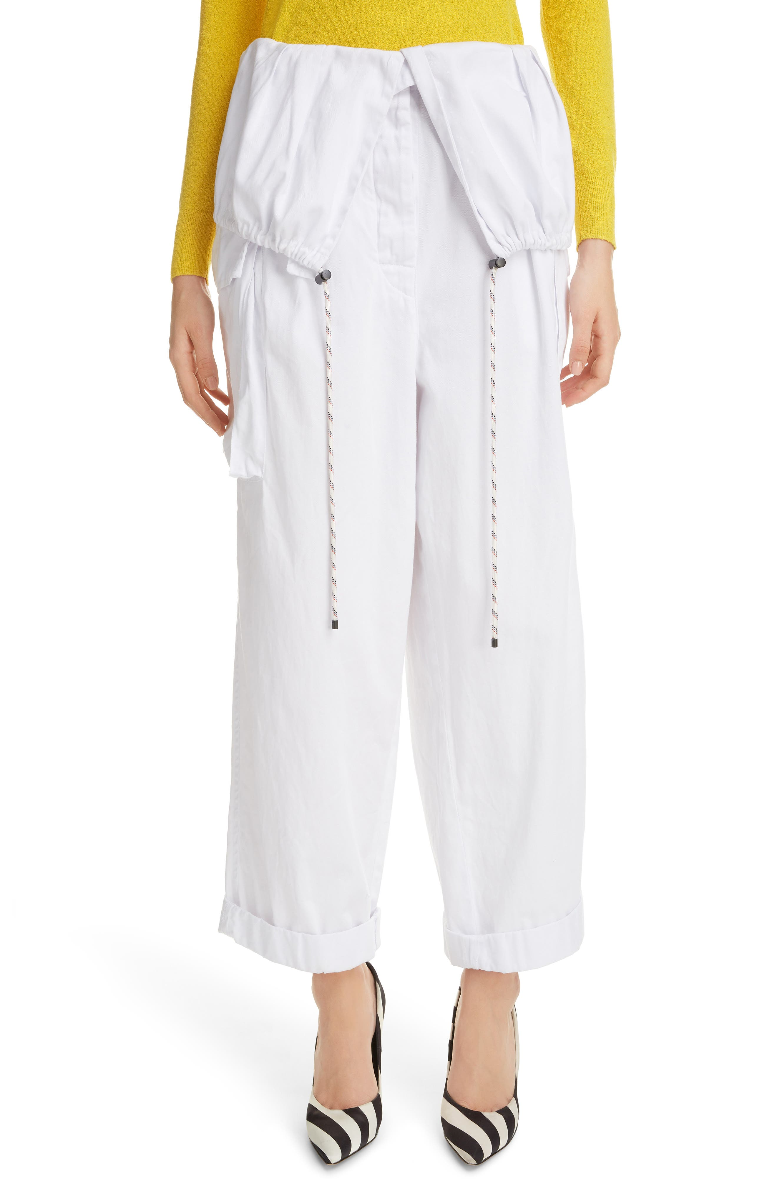 Dries Van Noten Pavel Cotton Ankle Cargo Pants, US / 44 FR - White