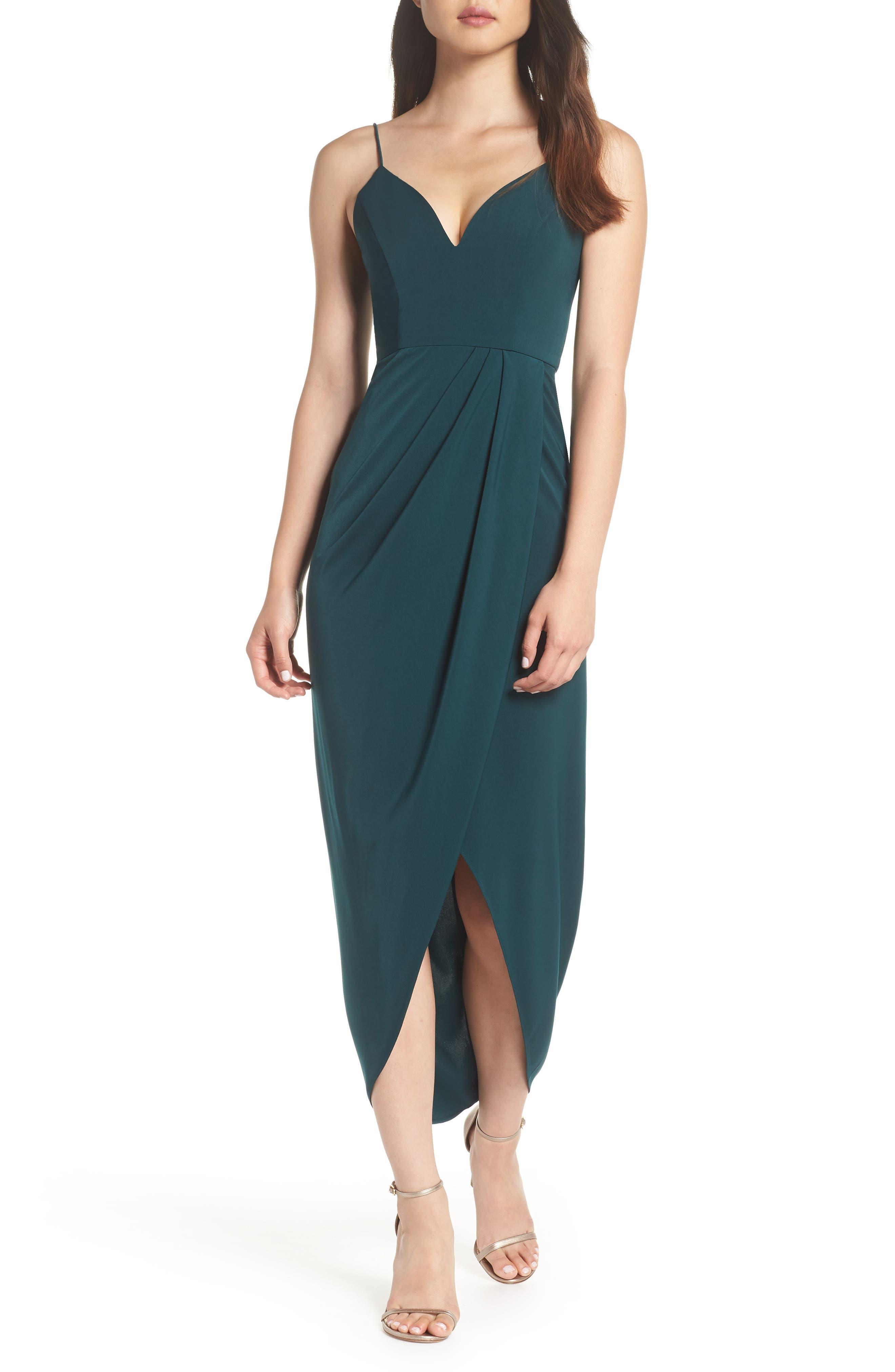 SHONA JOY, Tulip Hem Maxi Dress, Main thumbnail 1, color, SEAWEED
