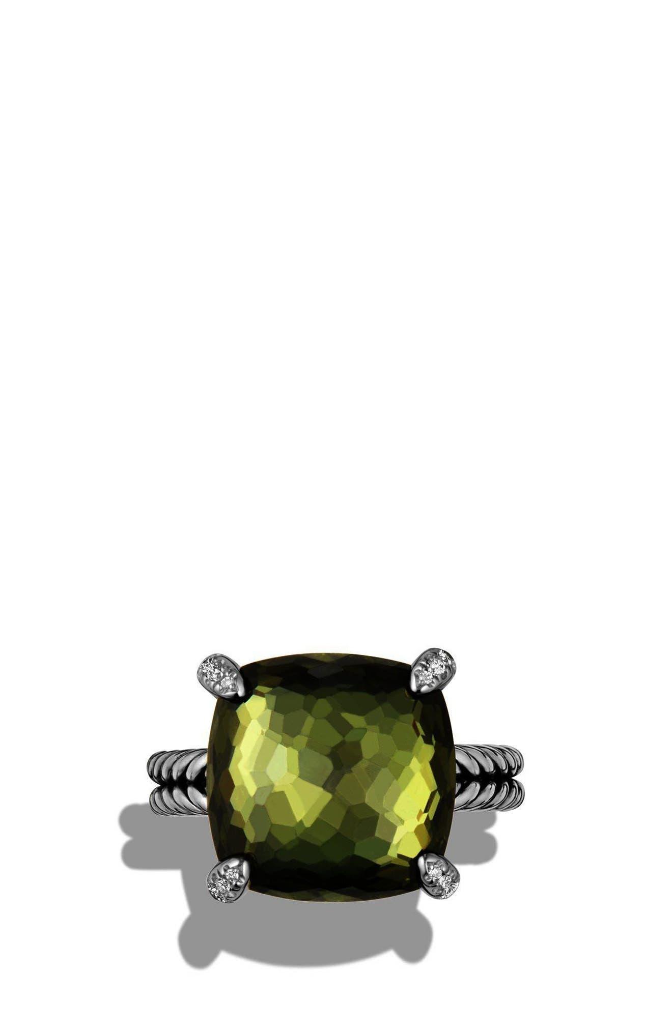 DAVID YURMAN, 'Châtelaine' Ring with Semiprecious Stone and Diamonds, Alternate thumbnail 3, color, SILVER/ CITRINE/ HEMATINE