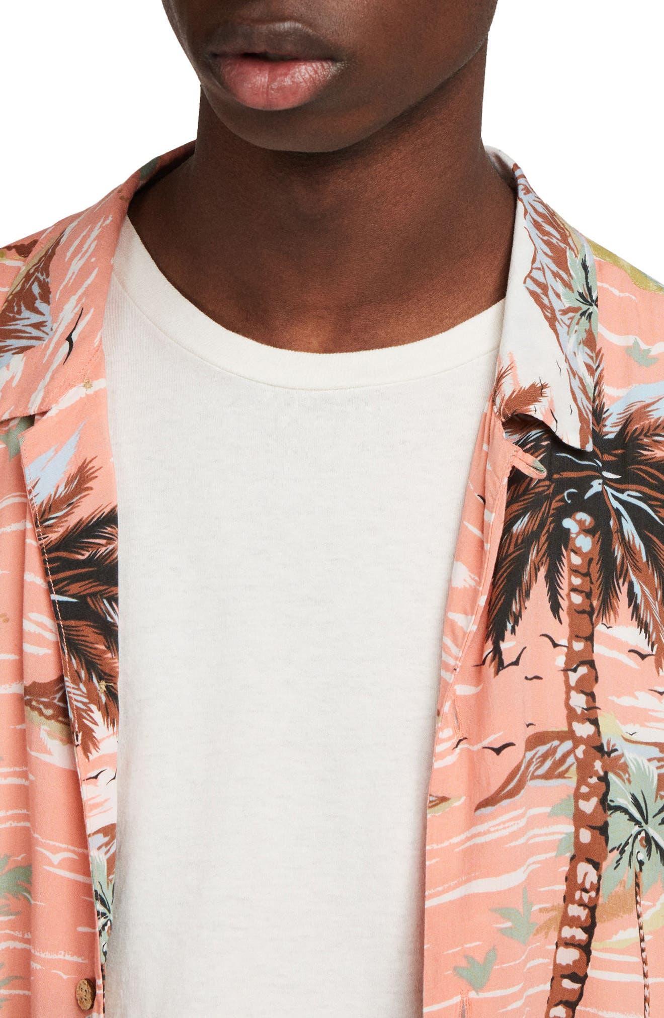 ALLSAINTS, Luau Camp Shirt, Alternate thumbnail 4, color, PINK