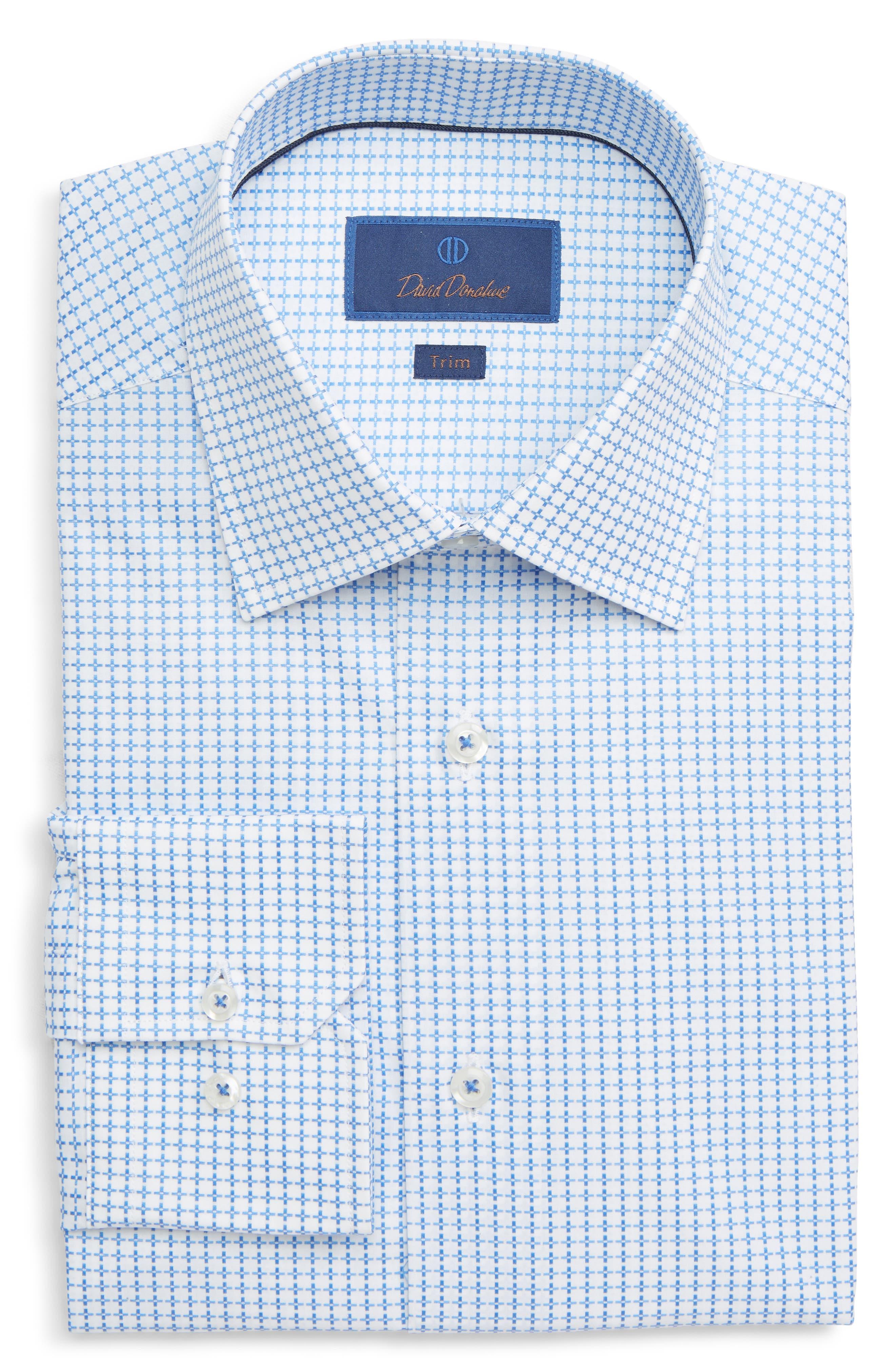 DAVID DONAHUE, Trim Fit Geometric Dress Shirt, Main thumbnail 1, color, BLUE