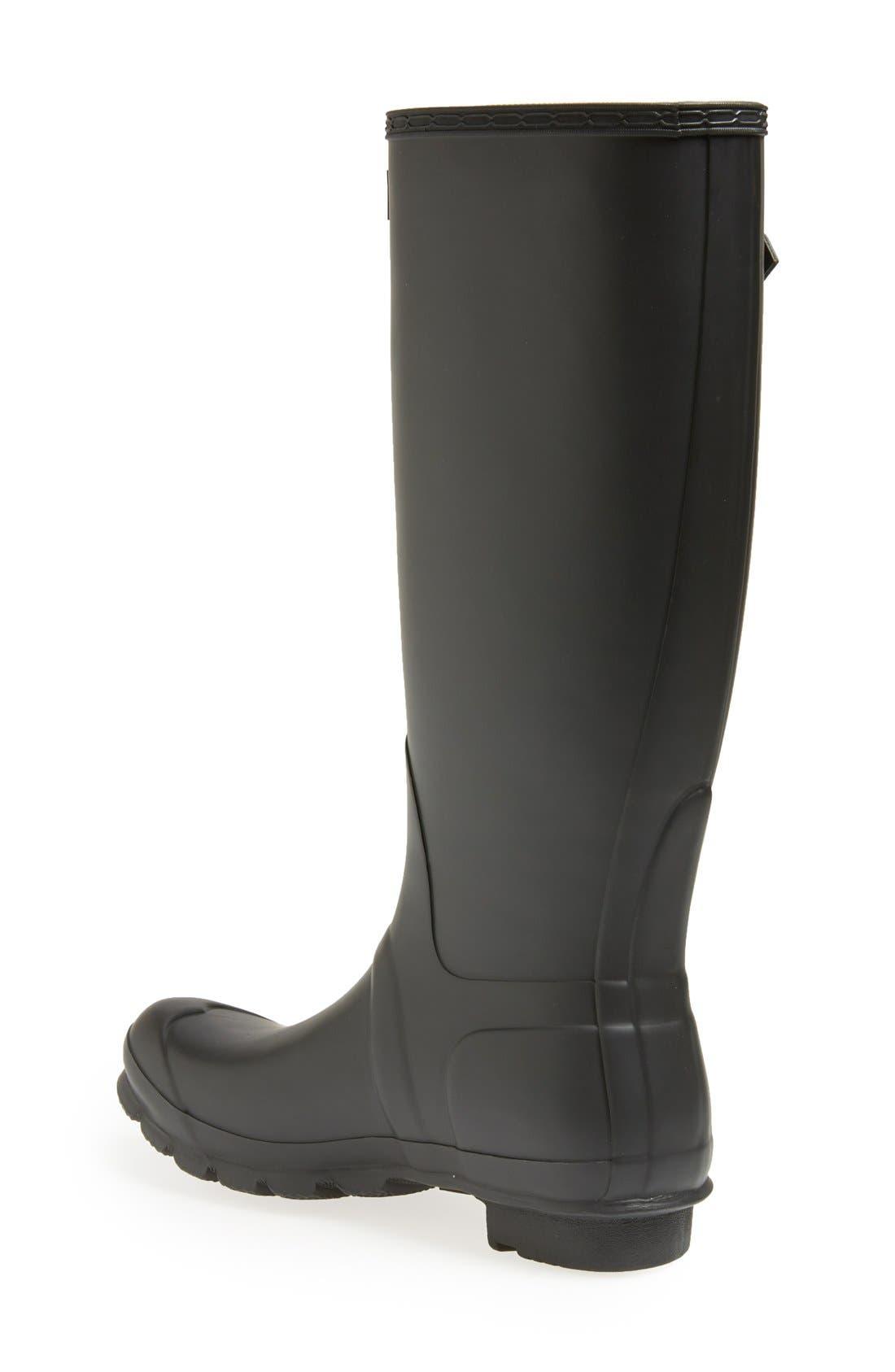 HUNTER, Original Tall Waterproof Rain Boot, Alternate thumbnail 4, color, BLACK MATTE