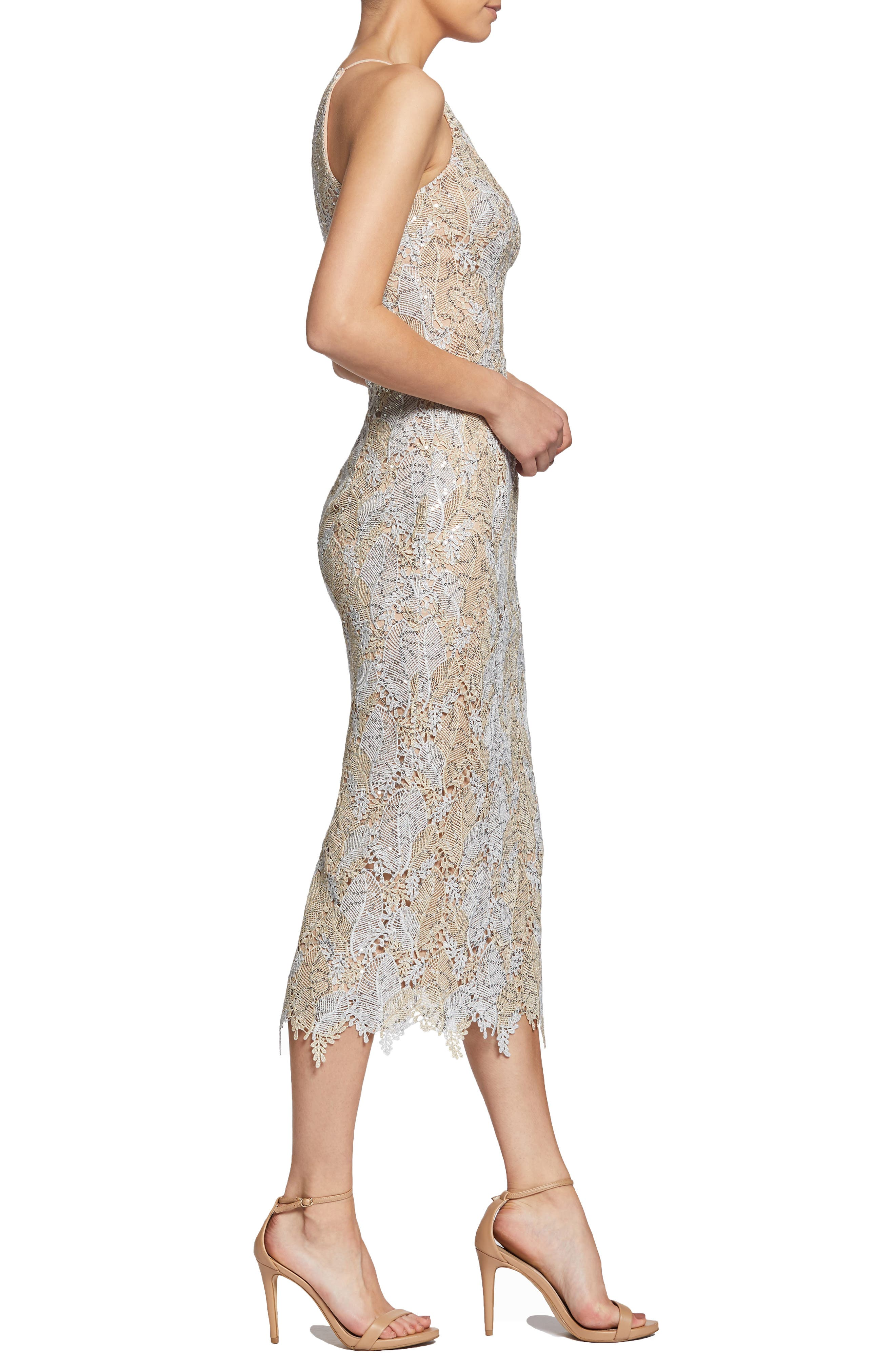 DRESS THE POPULATION, Aurora Lace Sheath Dress, Alternate thumbnail 4, color, PLATINUM/ GOLD