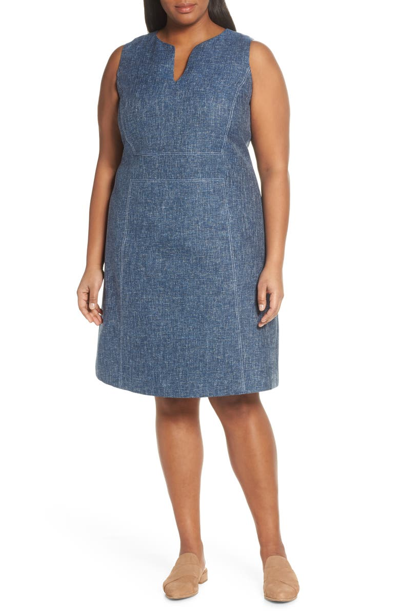 Lafayette 148 Dresses BRETT CONTRAST STITCH COTTON & LINEN DRESS(PLUS SIZE)