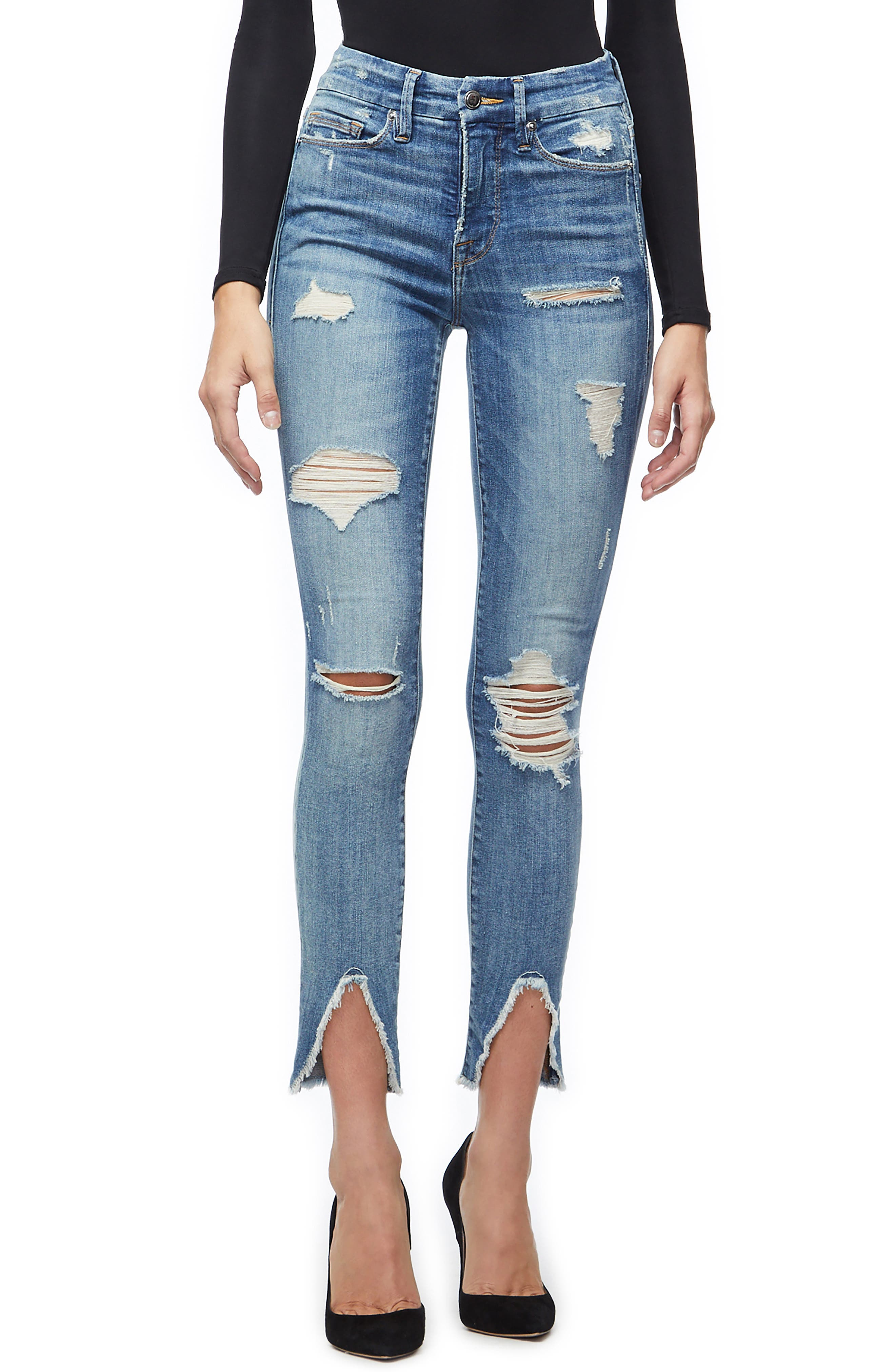GOOD AMERICAN, Good Legs Ripped Skinny Jeans, Main thumbnail 1, color, BLUE 218