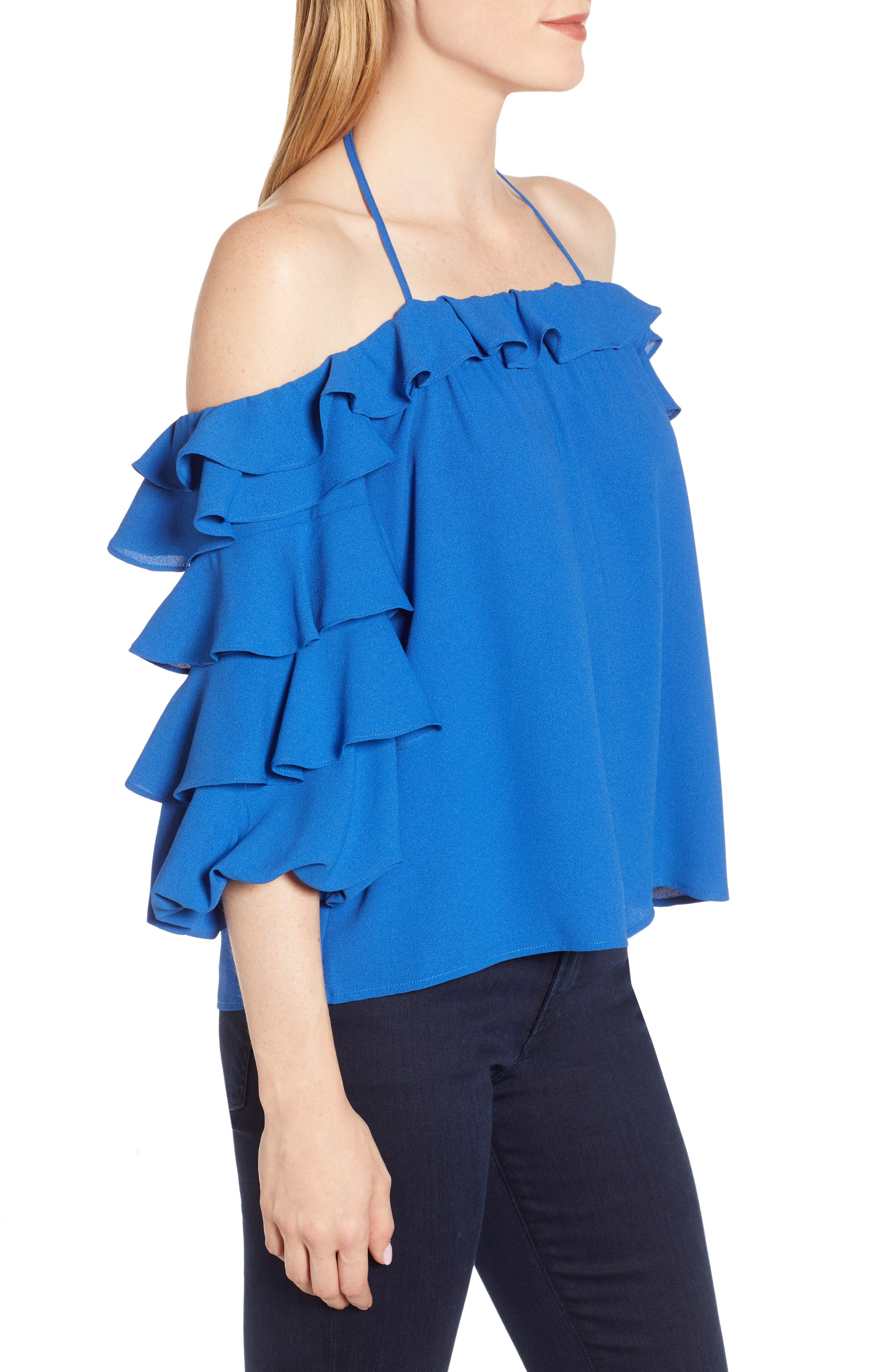 1.STATE, Tiered Ruffle Sleeve Blouse, Alternate thumbnail 3, color, 400