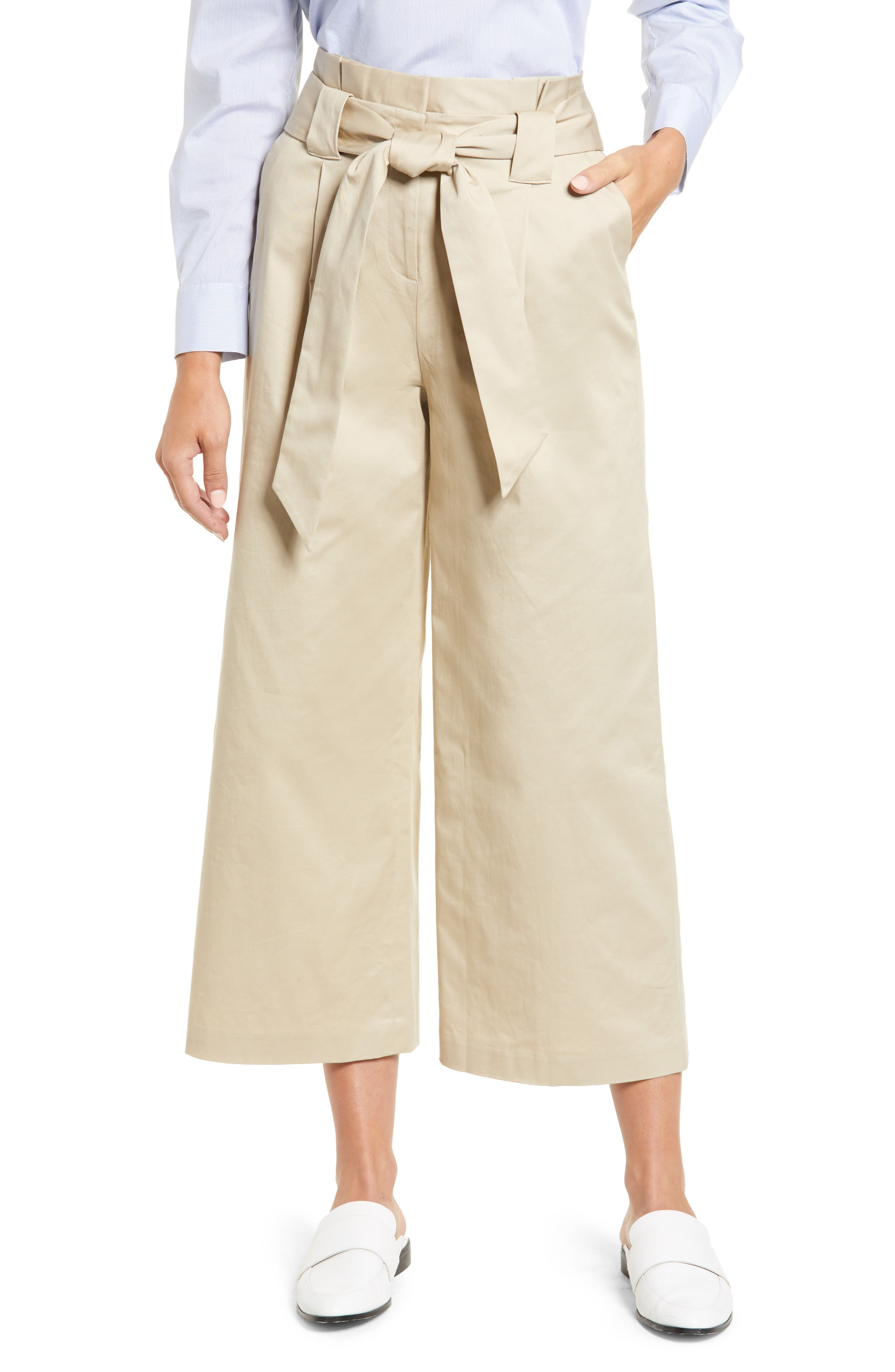 HALOGEN<SUP>®</SUP> Paperbag Waist Belted Wide Leg Crop Pants, Main, color, TAN OXFORD