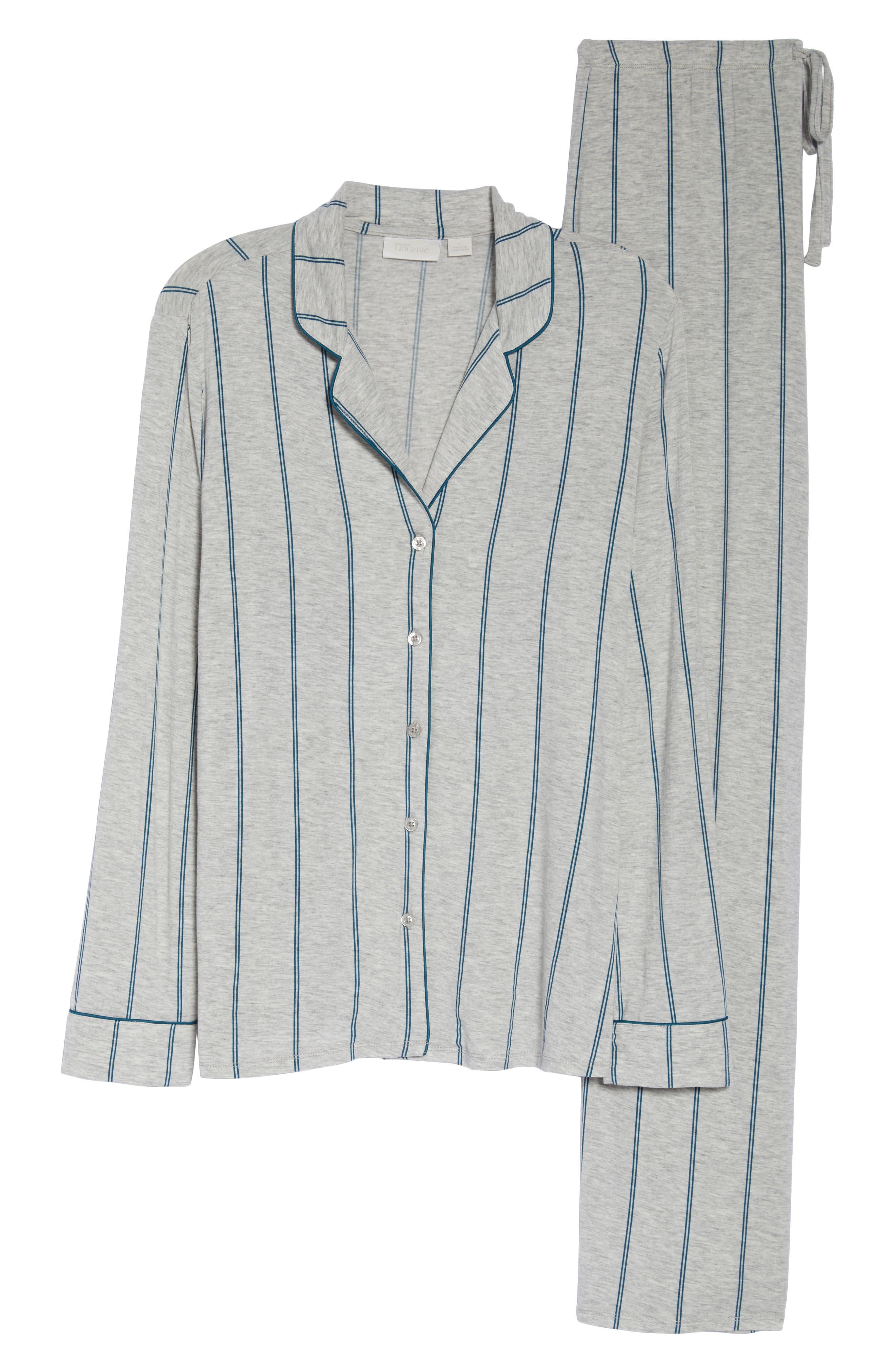NORDSTROM LINGERIE, Moonlight Pajamas, Alternate thumbnail 6, color, GREY PEARL HEATHER MICROSTRIPE