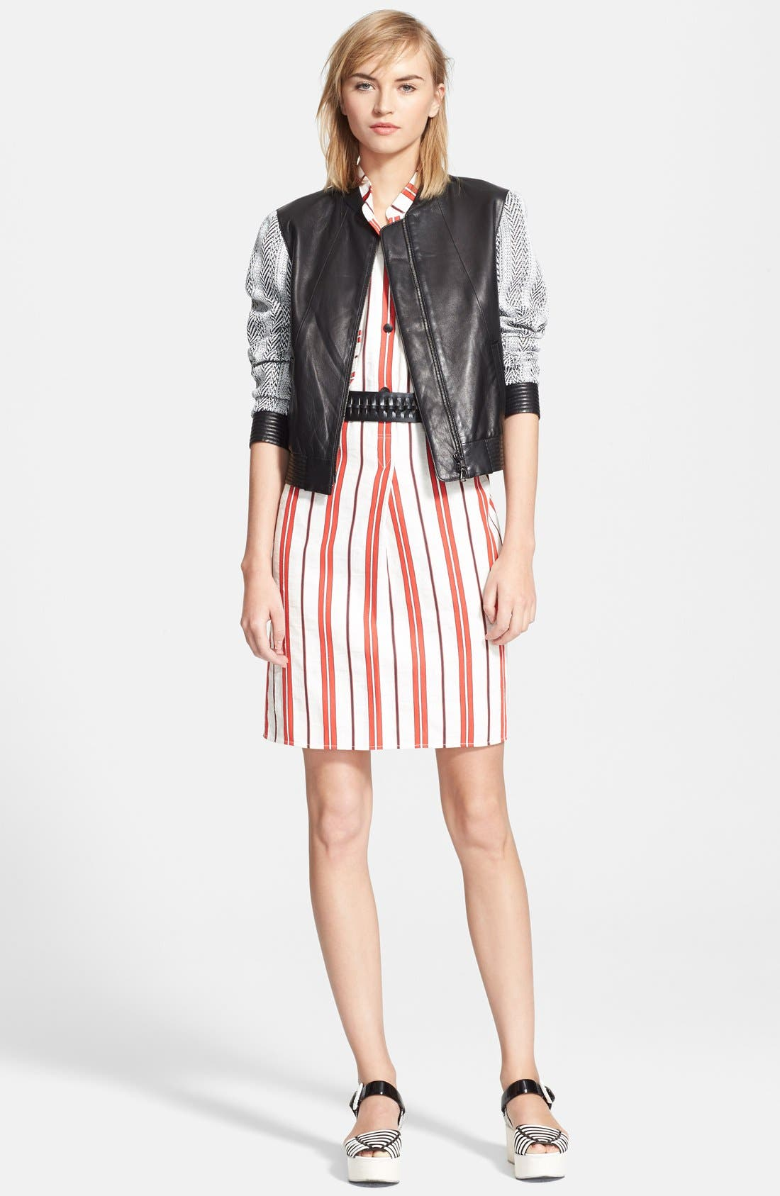 CREATURES OF THE WIND, 'Danae' Stripe Cotton Linen Shirtdress, Alternate thumbnail 4, color, 601