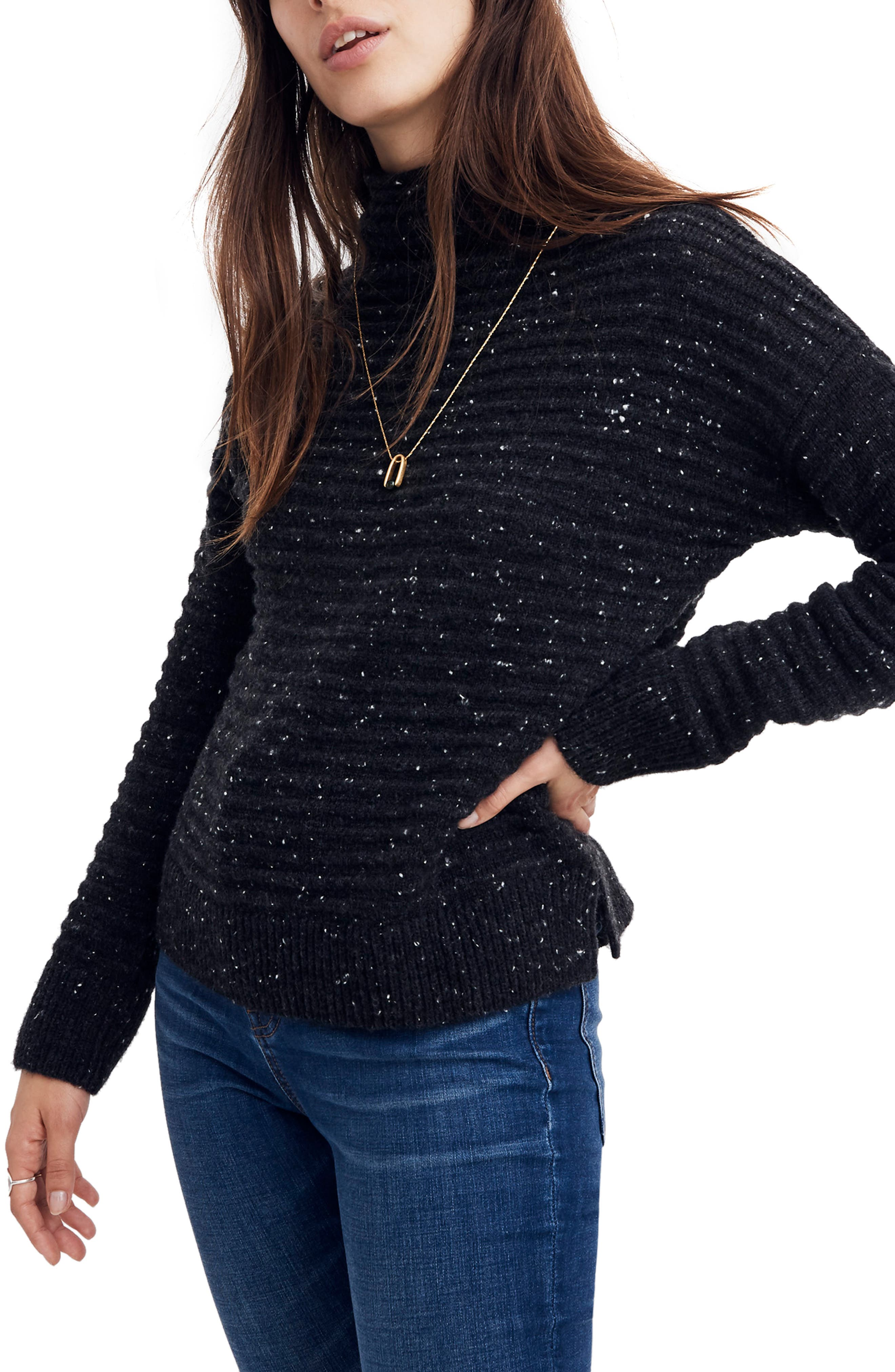 MADEWELL, Belmont Donegal Mock Neck Sweater, Main thumbnail 1, color, 020