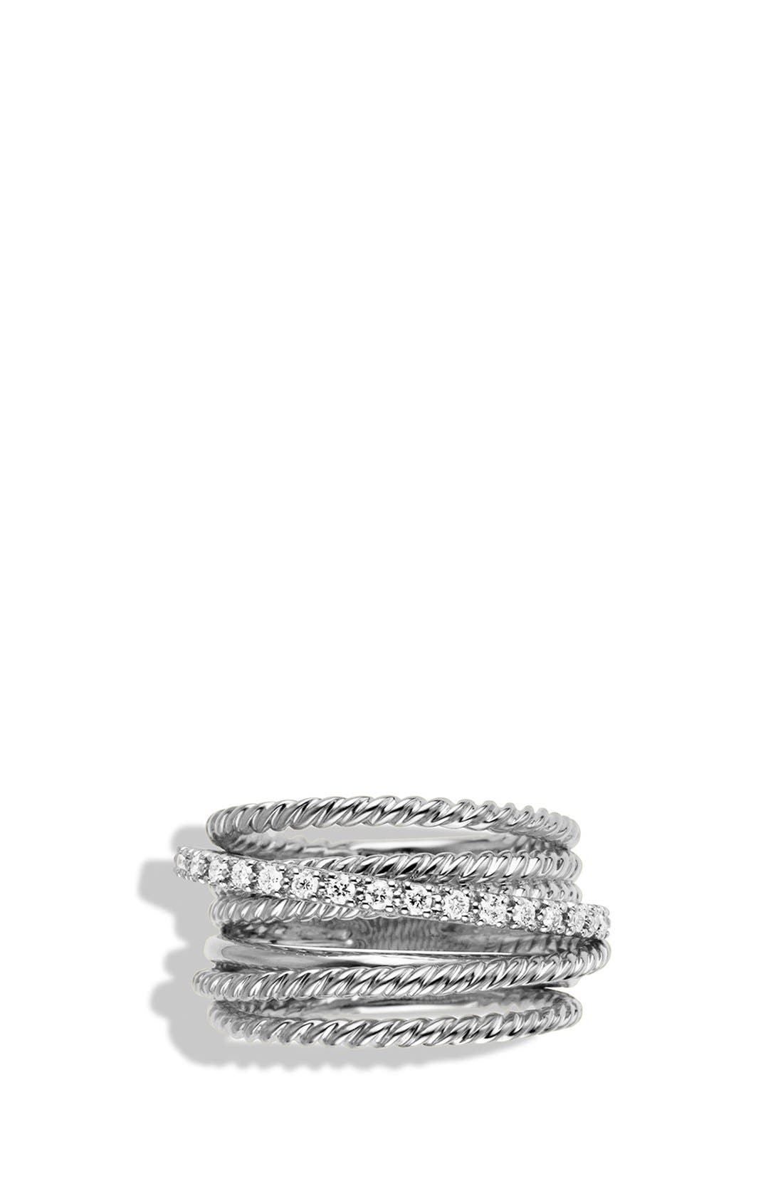 DAVID YURMAN, 'Crossover' Wide Ring with Diamonds, Alternate thumbnail 3, color, DIAMOND