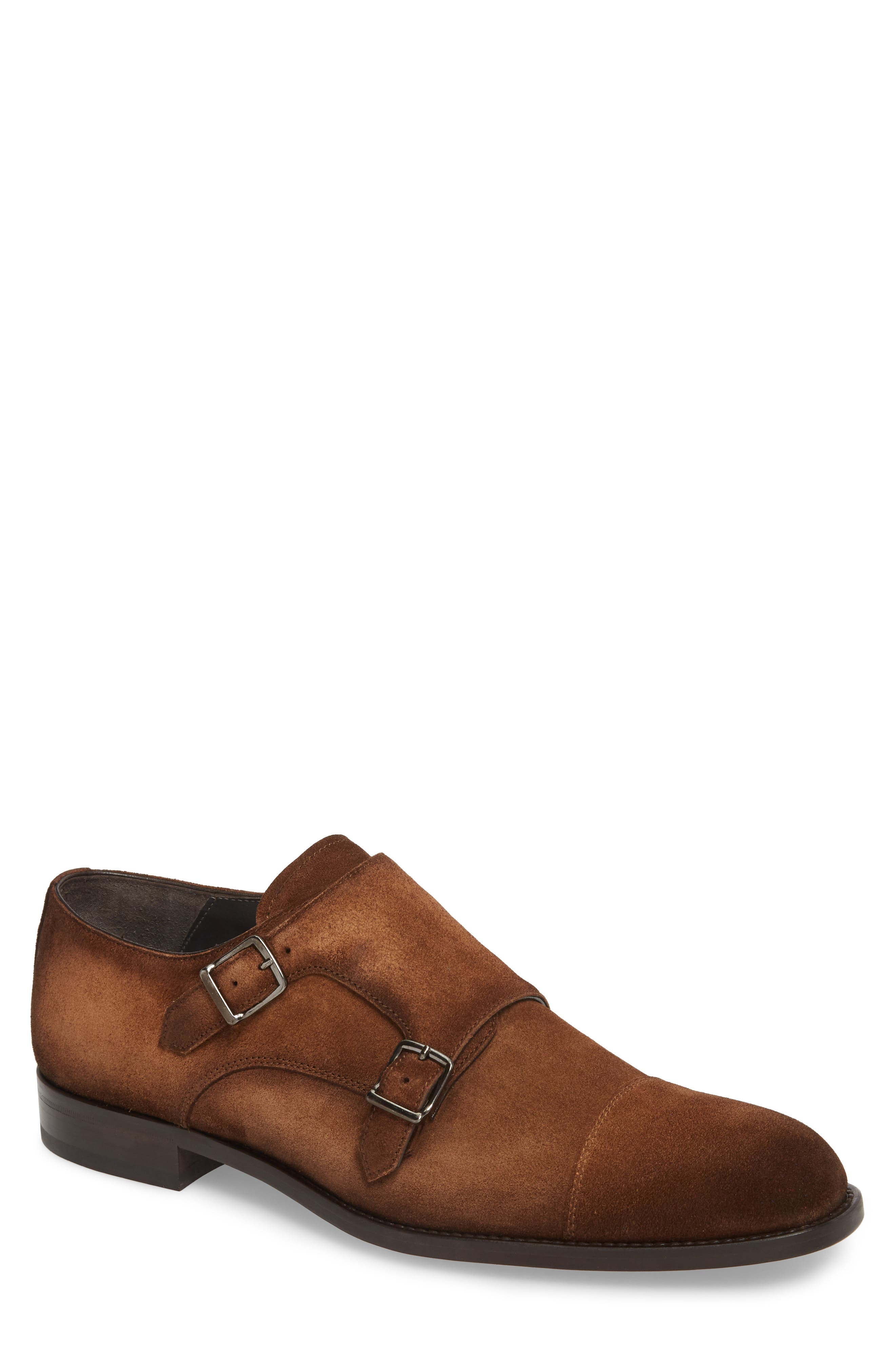 TO BOOT NEW YORK, Quentin Cap Toe Monk Shoe, Main thumbnail 1, color, BROWN SUEDE LEATHER