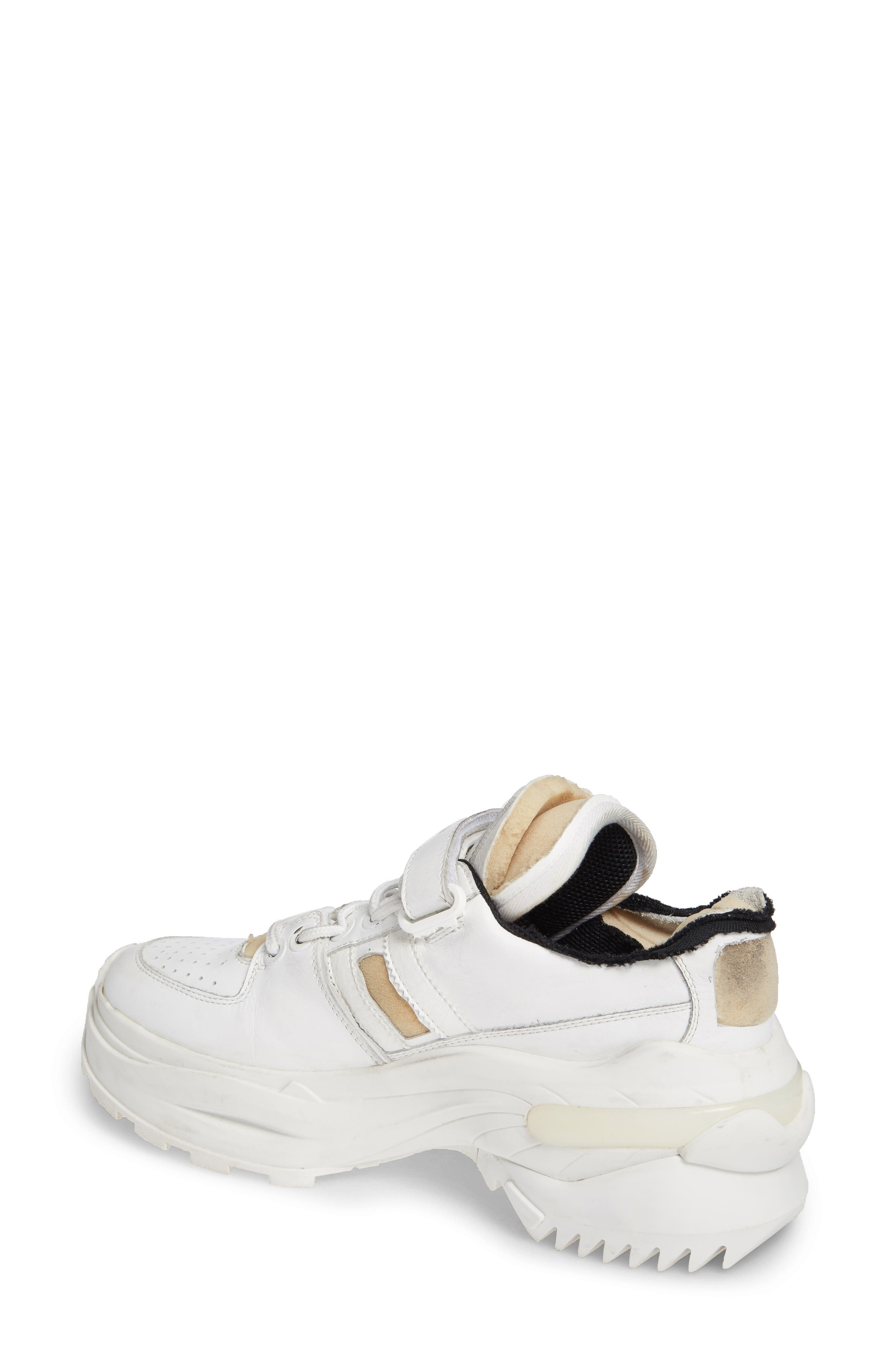 MAISON MARGIELA, Retro Fit Destroyed Sneaker, Alternate thumbnail 2, color, WHITE