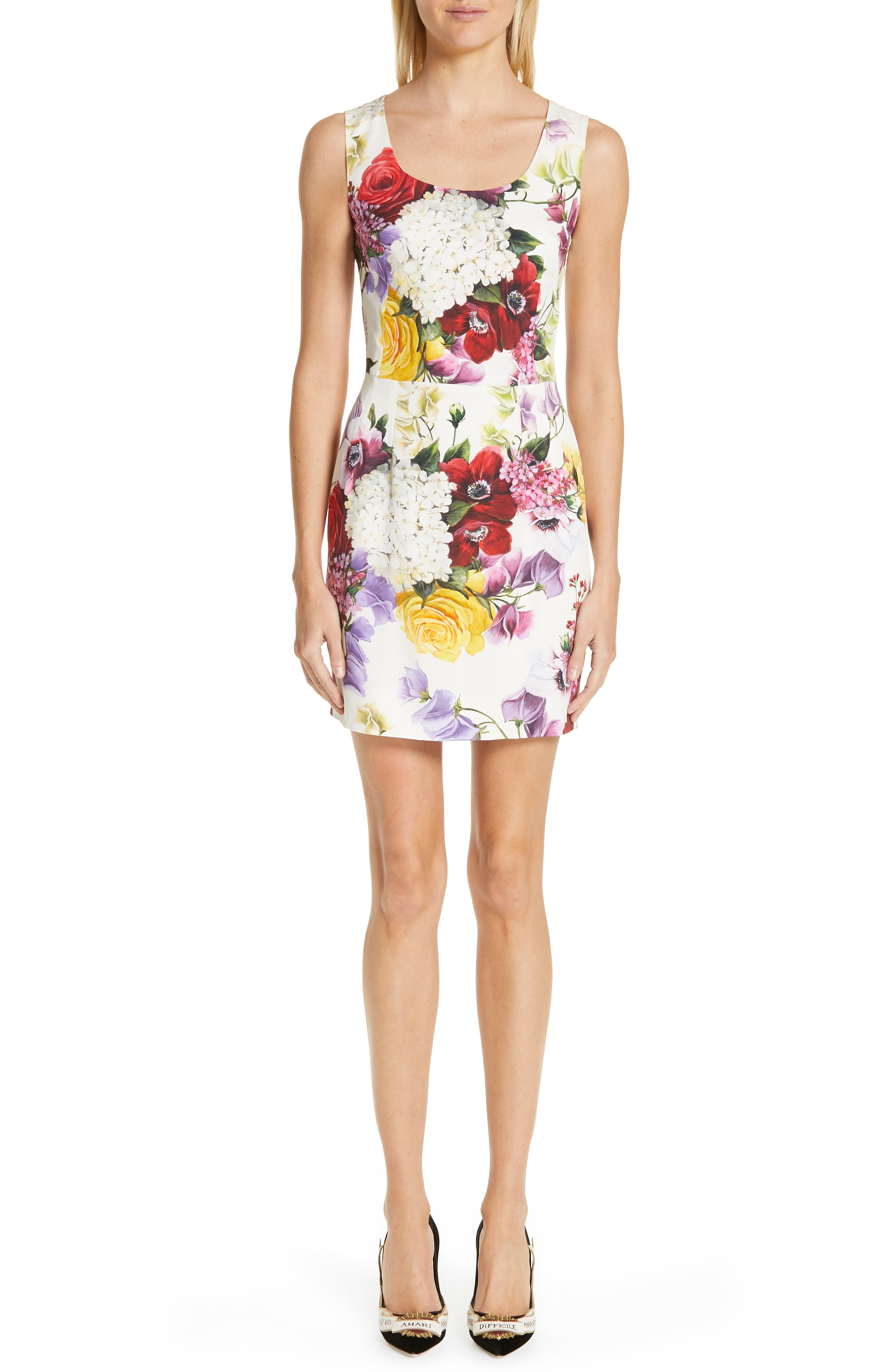 Dolce & gabbana Floral Print Stretch Silk Charmeuse Minidress, US / 42 IT - White