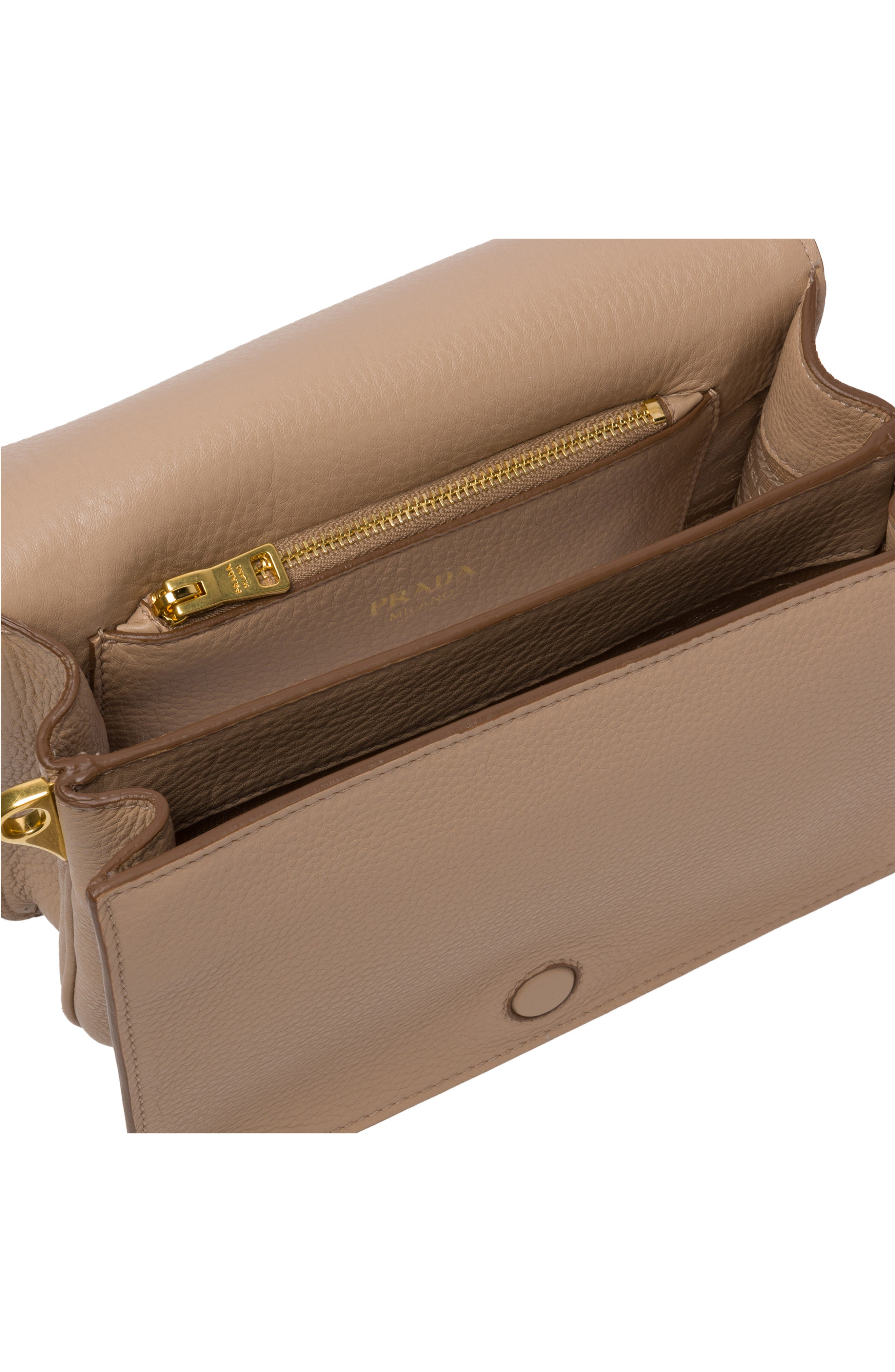 PRADA, Vitello Daino Double Compartment Leather Shoulder Bag, Alternate thumbnail 4, color, CAMMEO