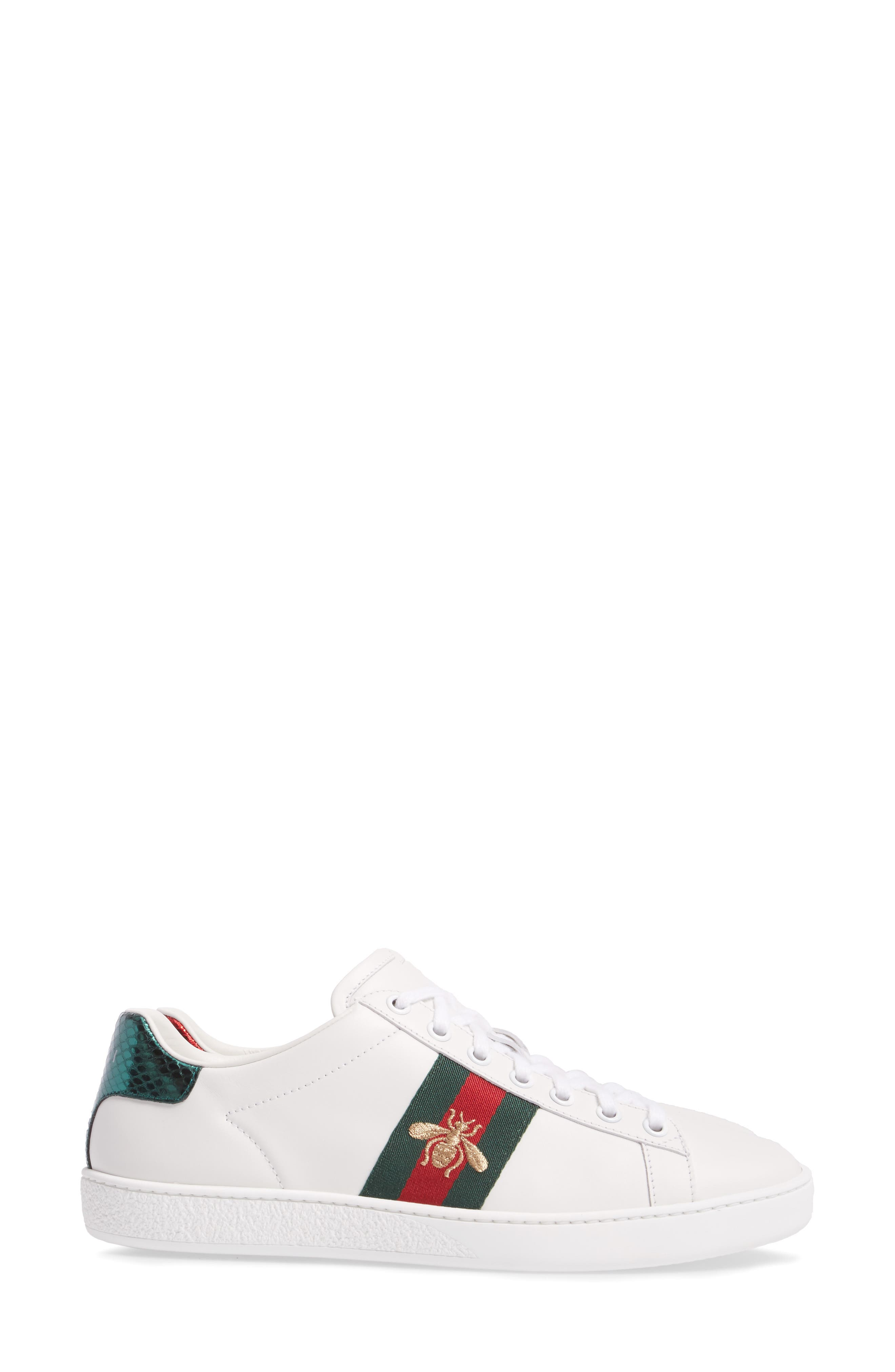 GUCCI, New Ace Sneaker, Alternate thumbnail 3, color, WHITE LEATHER