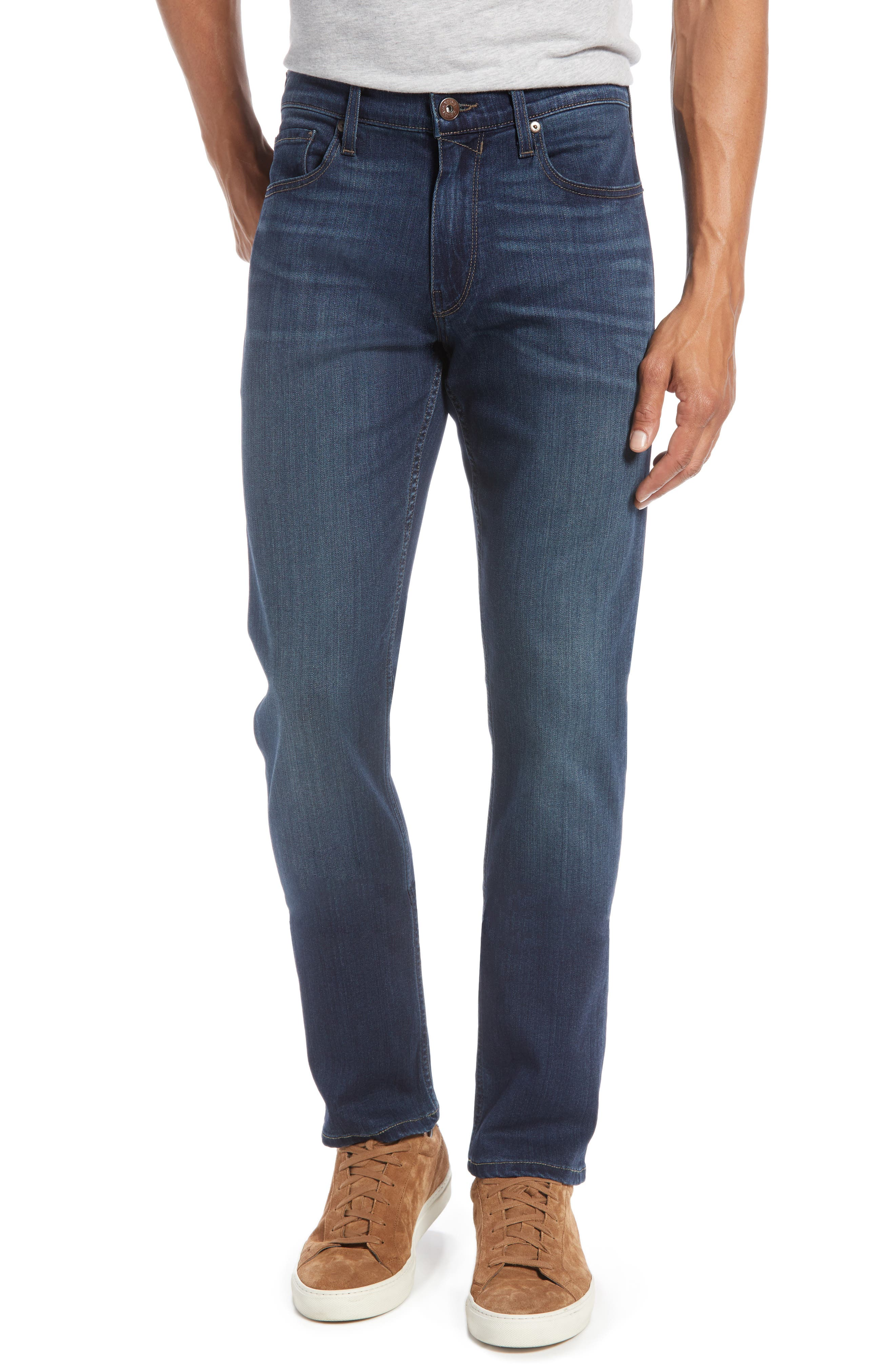 PAIGE, 'Federal' Slim Straight Leg Jeans, Alternate thumbnail 2, color, BLAKELY