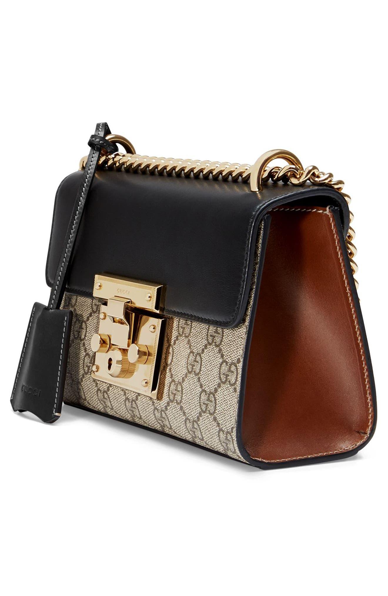GUCCI, Small Padlock GG Supreme Canvas & Leather Shoulder Bag, Alternate thumbnail 4, color, MOON/TOSCANO