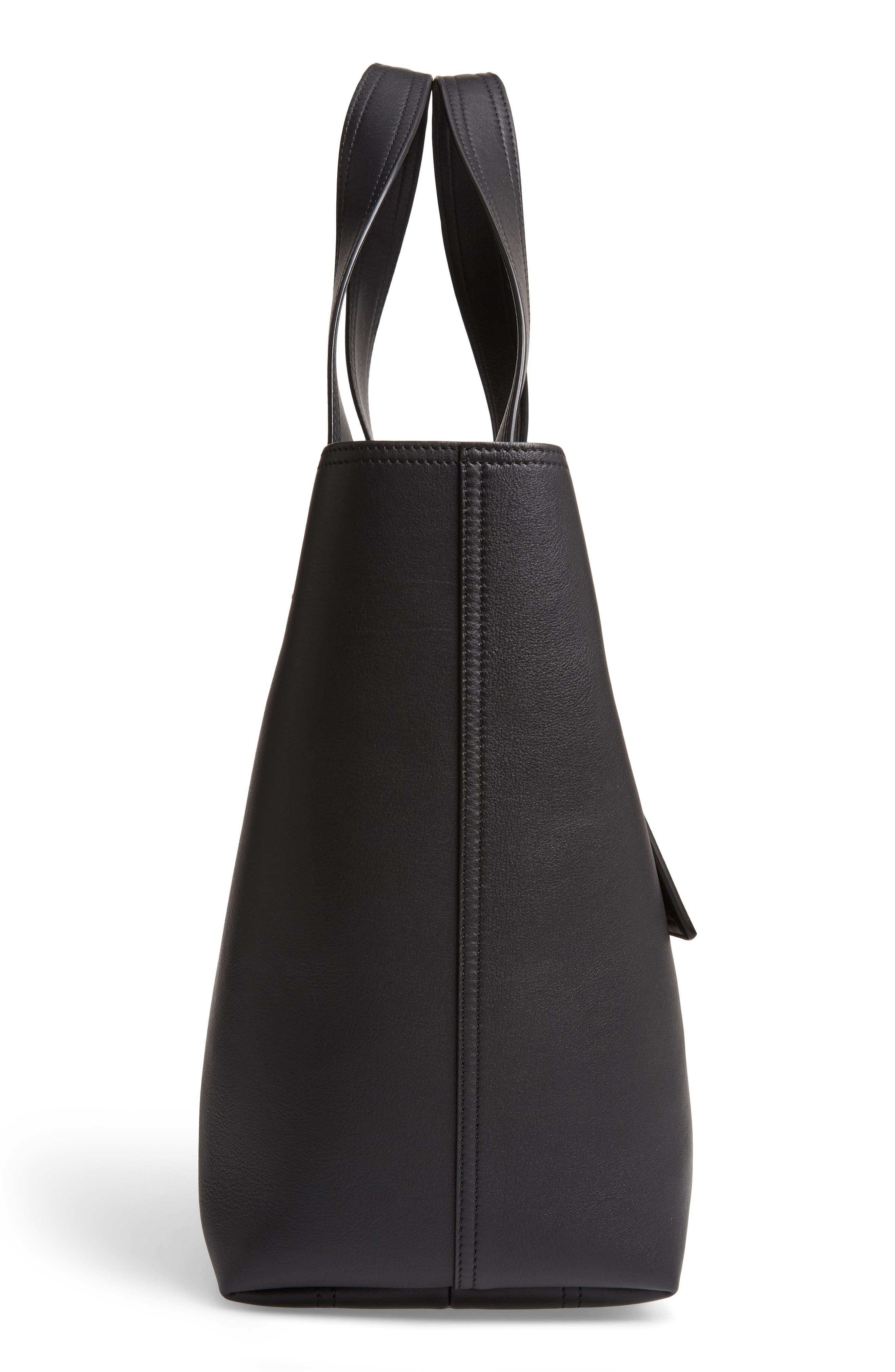 VICTORIA BECKHAM, Apron Leather Tote, Alternate thumbnail 5, color, 001