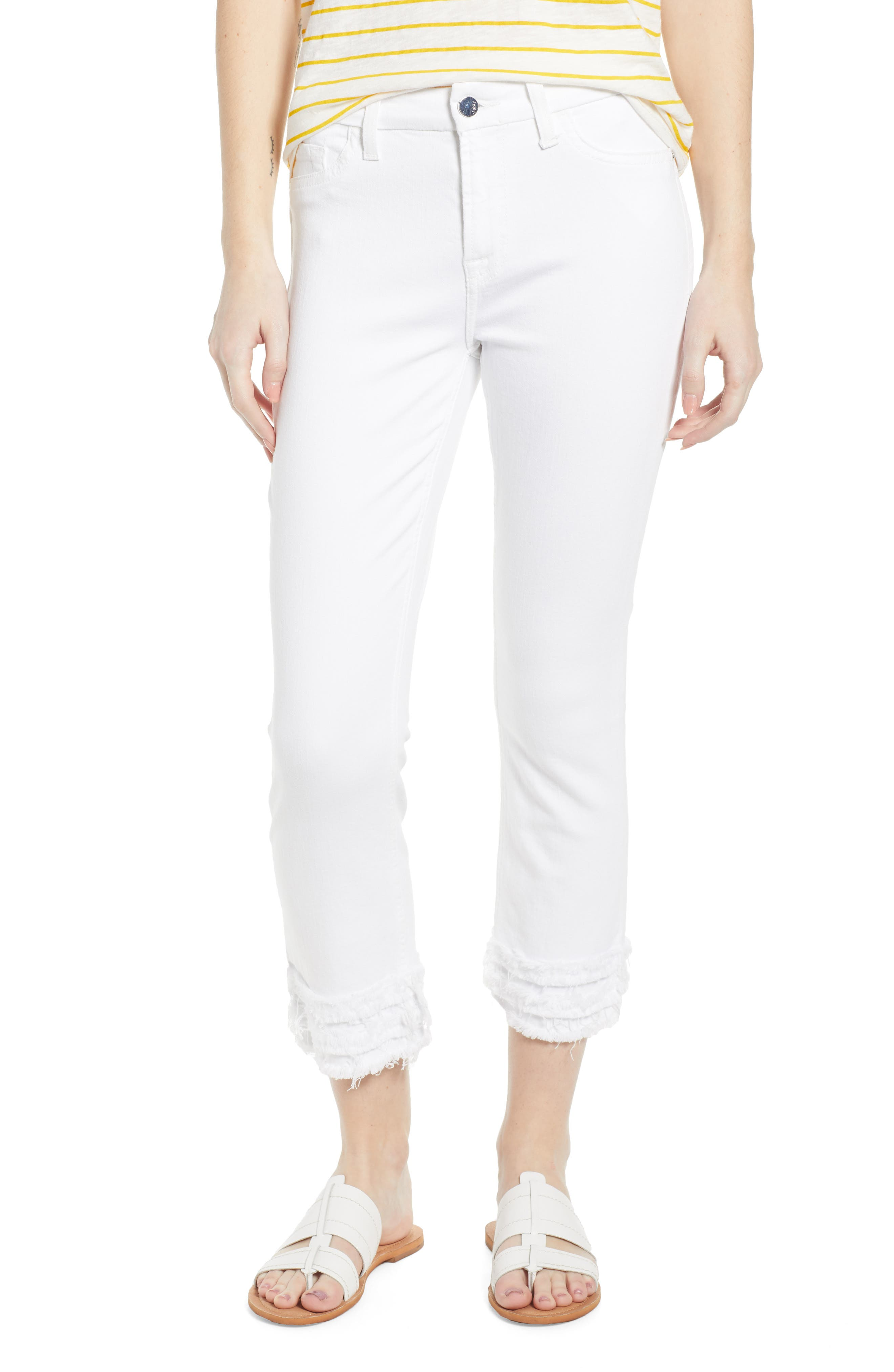 JEN7 BY 7 FOR ALL MANKIND, Fringe Hem Crop Jeans, Main thumbnail 1, color, WHITE FASHION