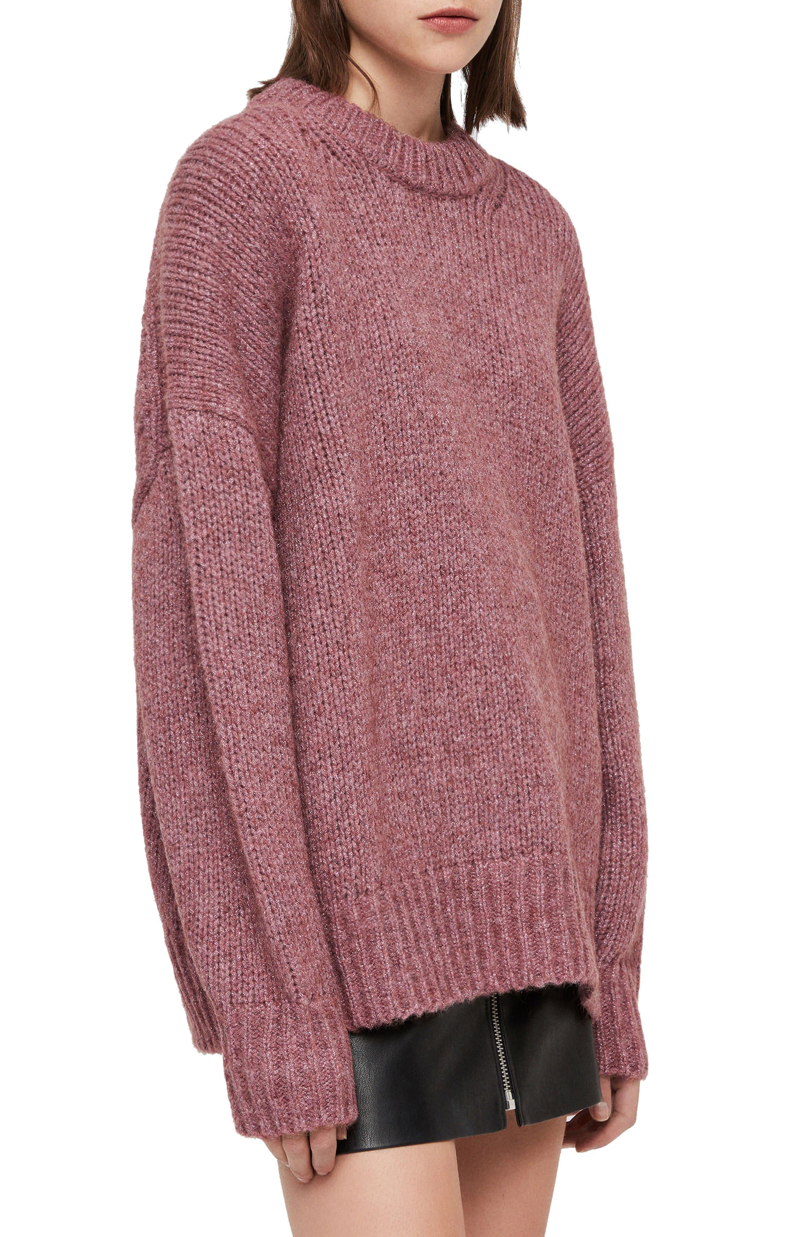 ALLSAINTS, Gemini Metallic Knit Sweater, Alternate thumbnail 3, color, 653