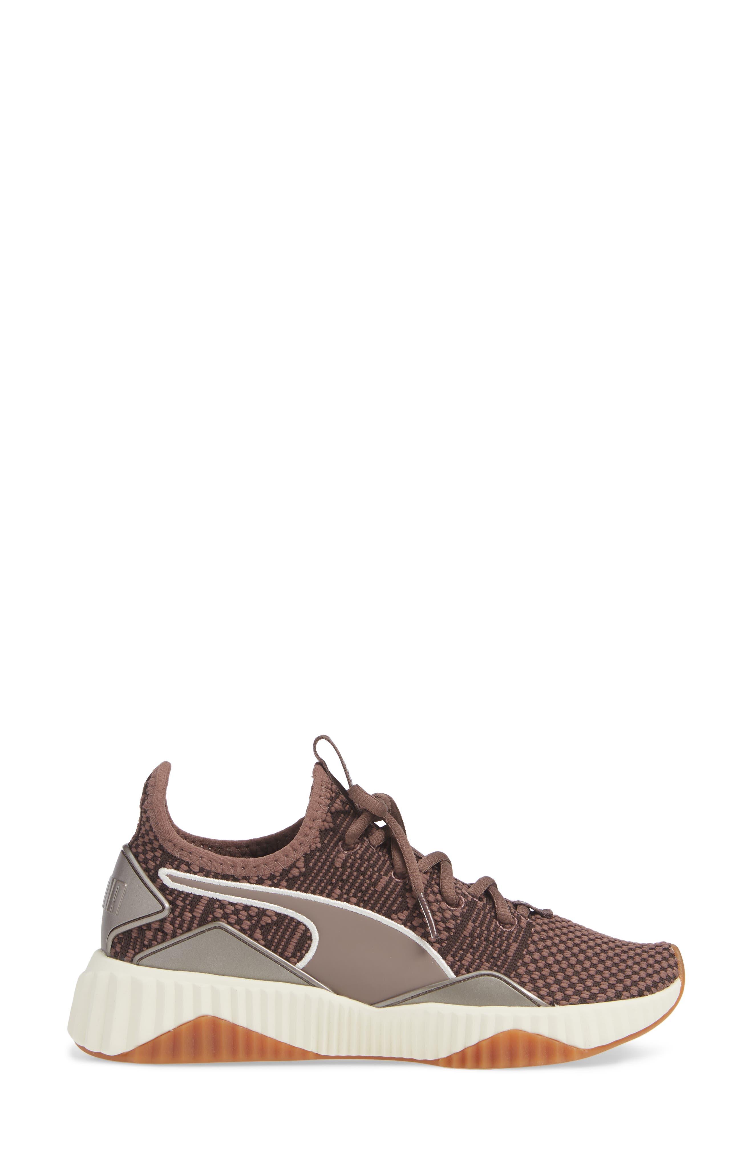 PUMA, Defy Luxe Sneaker, Alternate thumbnail 3, color, PEPPERCORN/ METALLIC ASH