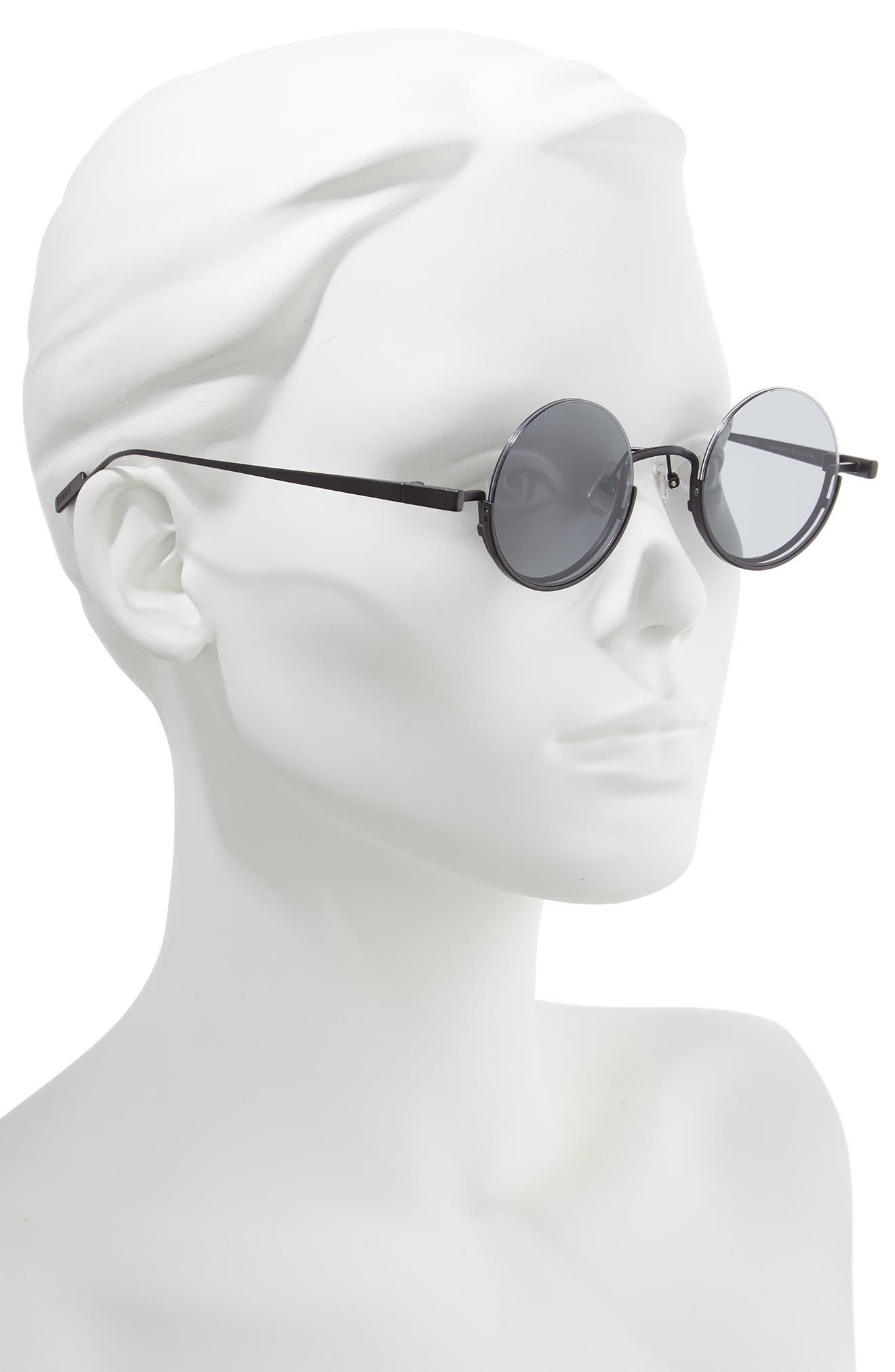 BONNIE CLYDE, Desierto 42mm Round Sunglasses, Alternate thumbnail 2, color, BLACK