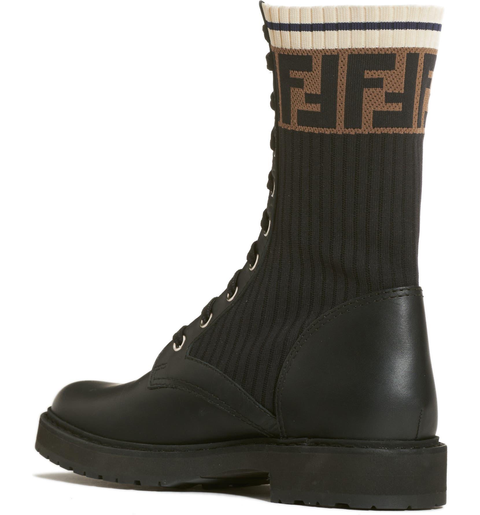 23dcc70a4d7 Fendi Rockoko Chelsea Sock Combat Boot (Women)