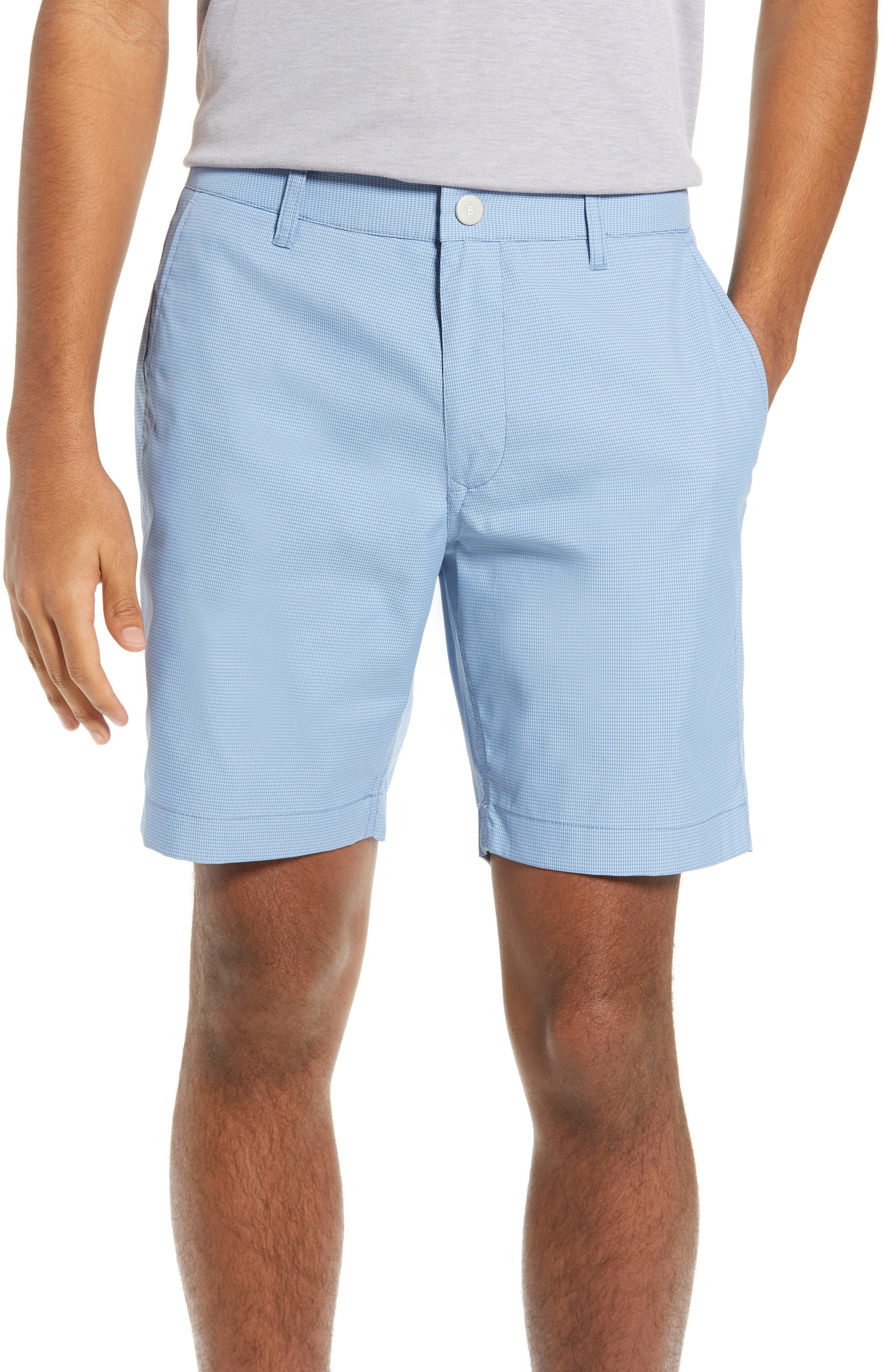 BONOBOS The Highland Micro Houndstooth Golf Shorts, Main, color, BLUE MINICHECK C3