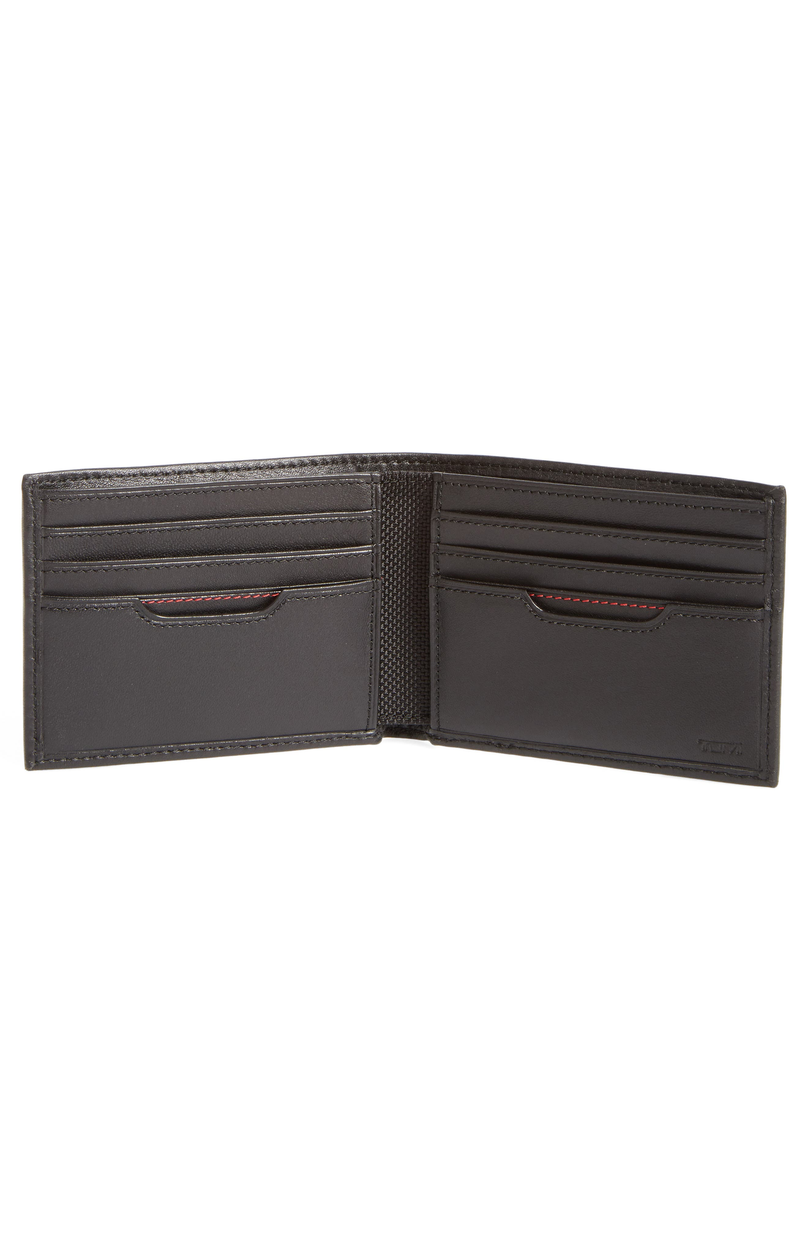 TUMI, Delta Double ID Lock<sup>™</sup> Shielded Leather Wallet, Alternate thumbnail 2, color, BLACK