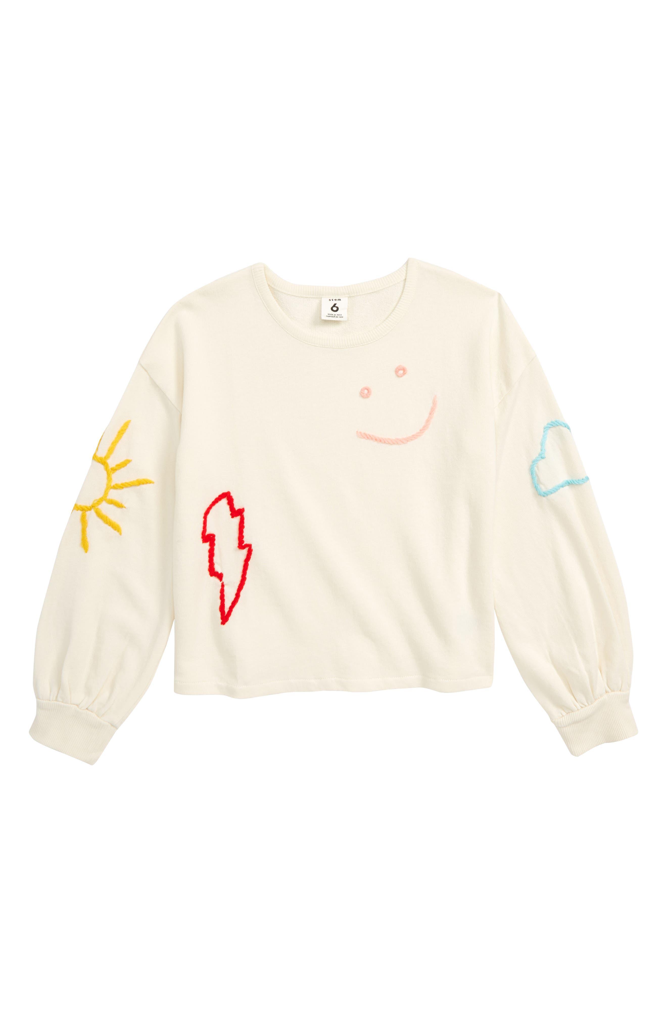 Toddler Girls Stem Embroidered Sweatshirt Size 3T  Ivory