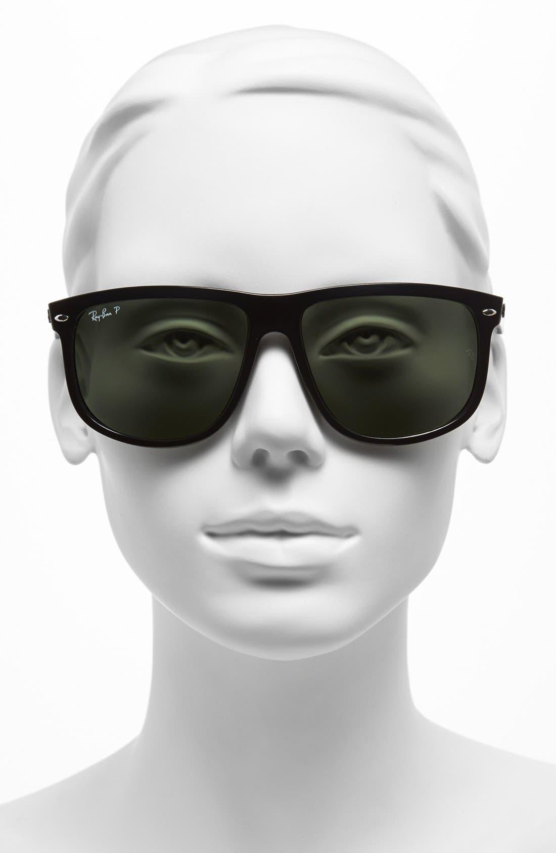 RAY-BAN, Highstreet 60mm Polarized Flat Top Sunglasses, Alternate thumbnail 5, color, BLACK POLARIZED