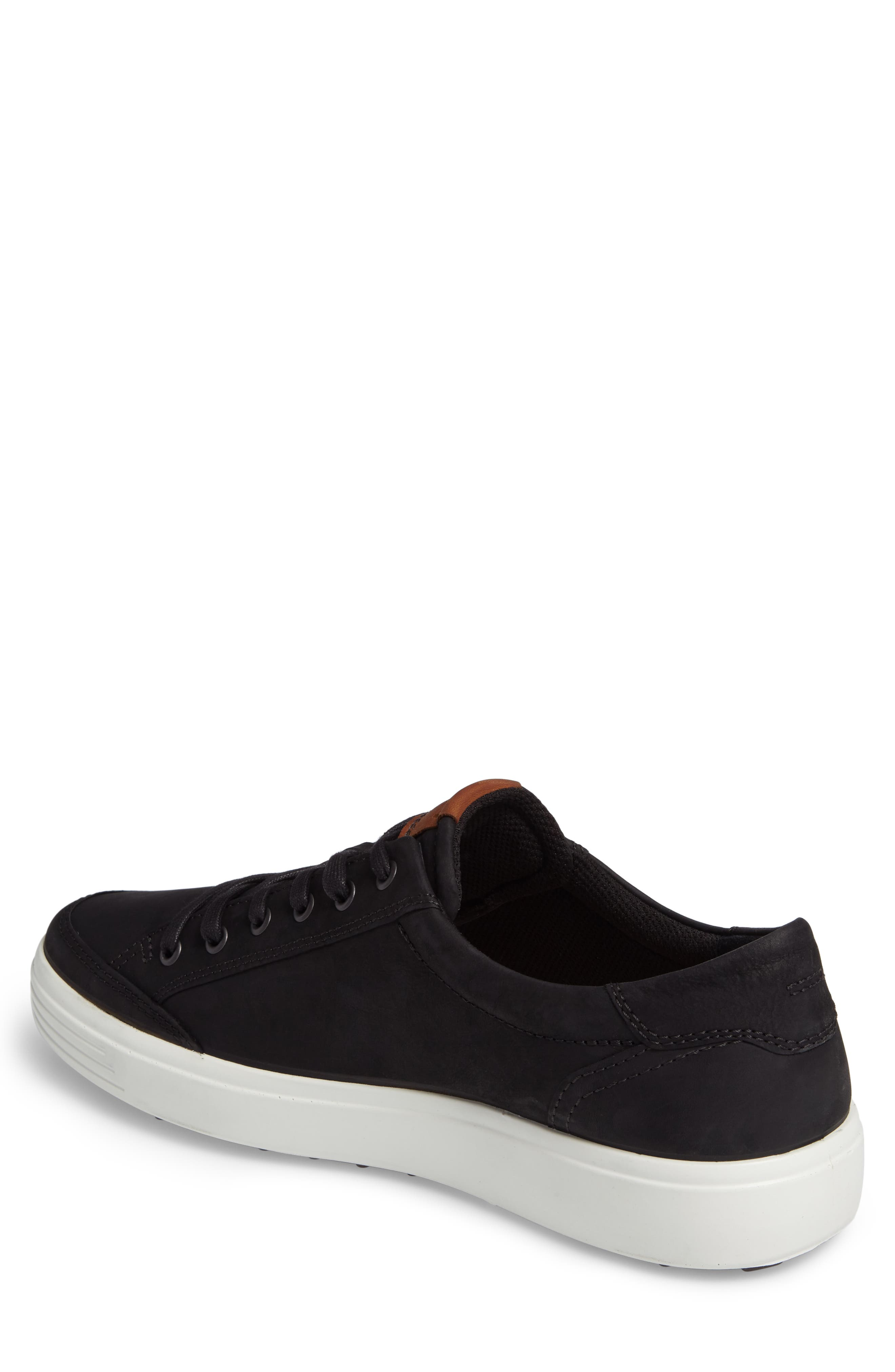 ECCO, Soft 7 Long Lace Sneaker, Alternate thumbnail 2, color, BLACK LEATHER
