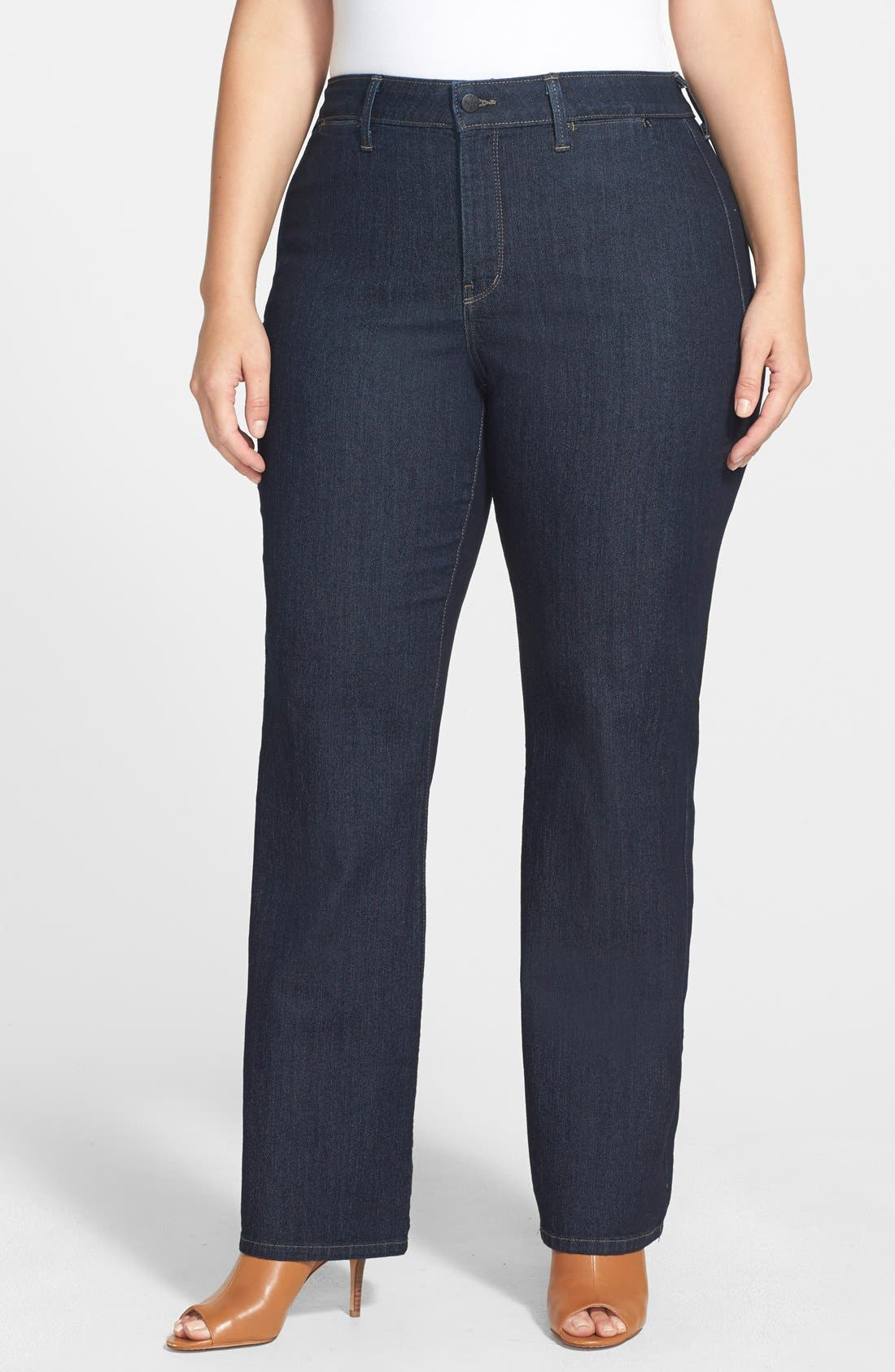 NYDJ, 'Isabella' High Rise Stretch Trouser Jeans, Main thumbnail 1, color, DARK ENZYME