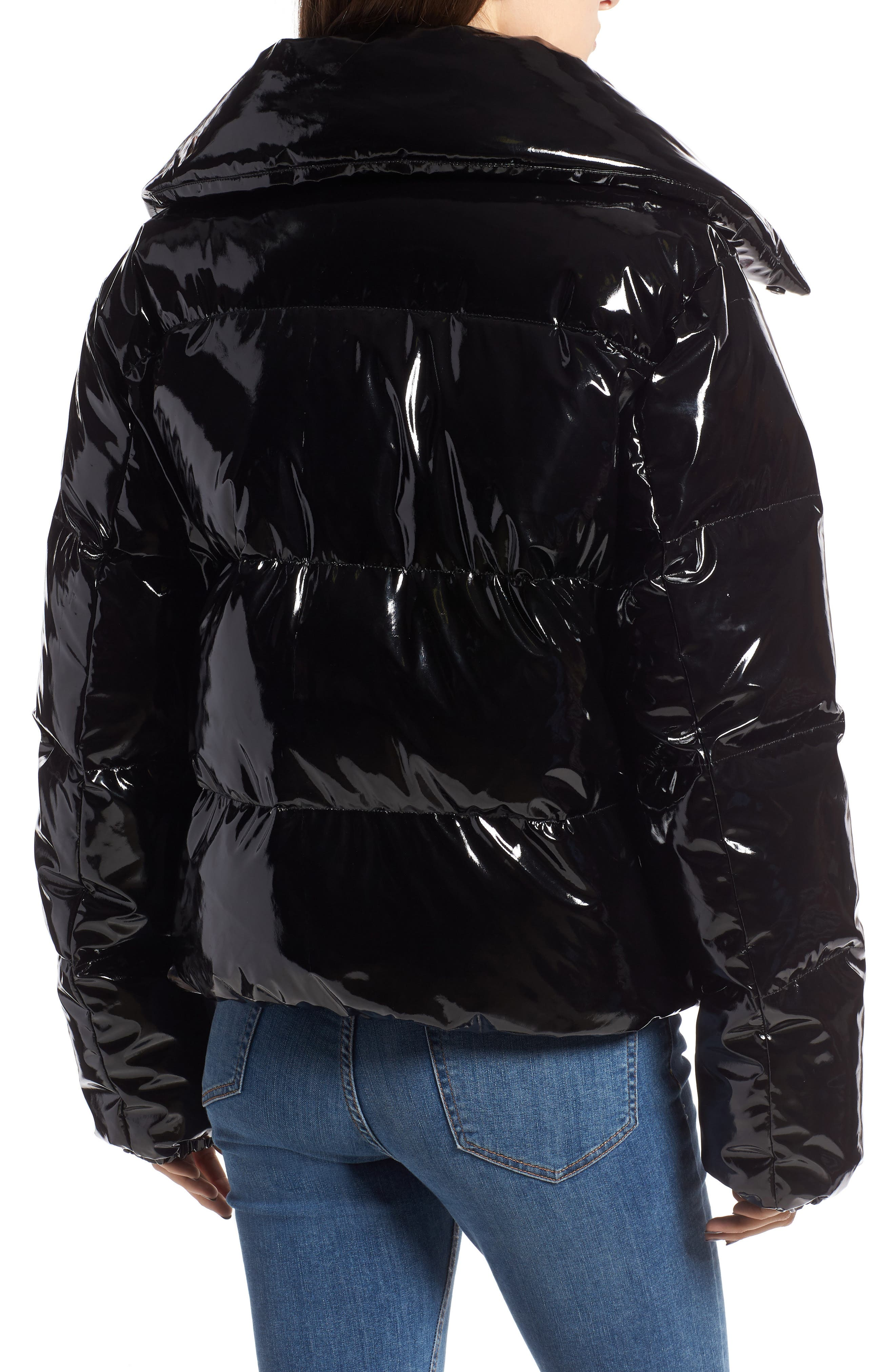 KENDALL + KYLIE, Vinyl Puffer Jacket, Alternate thumbnail 2, color, BLACK