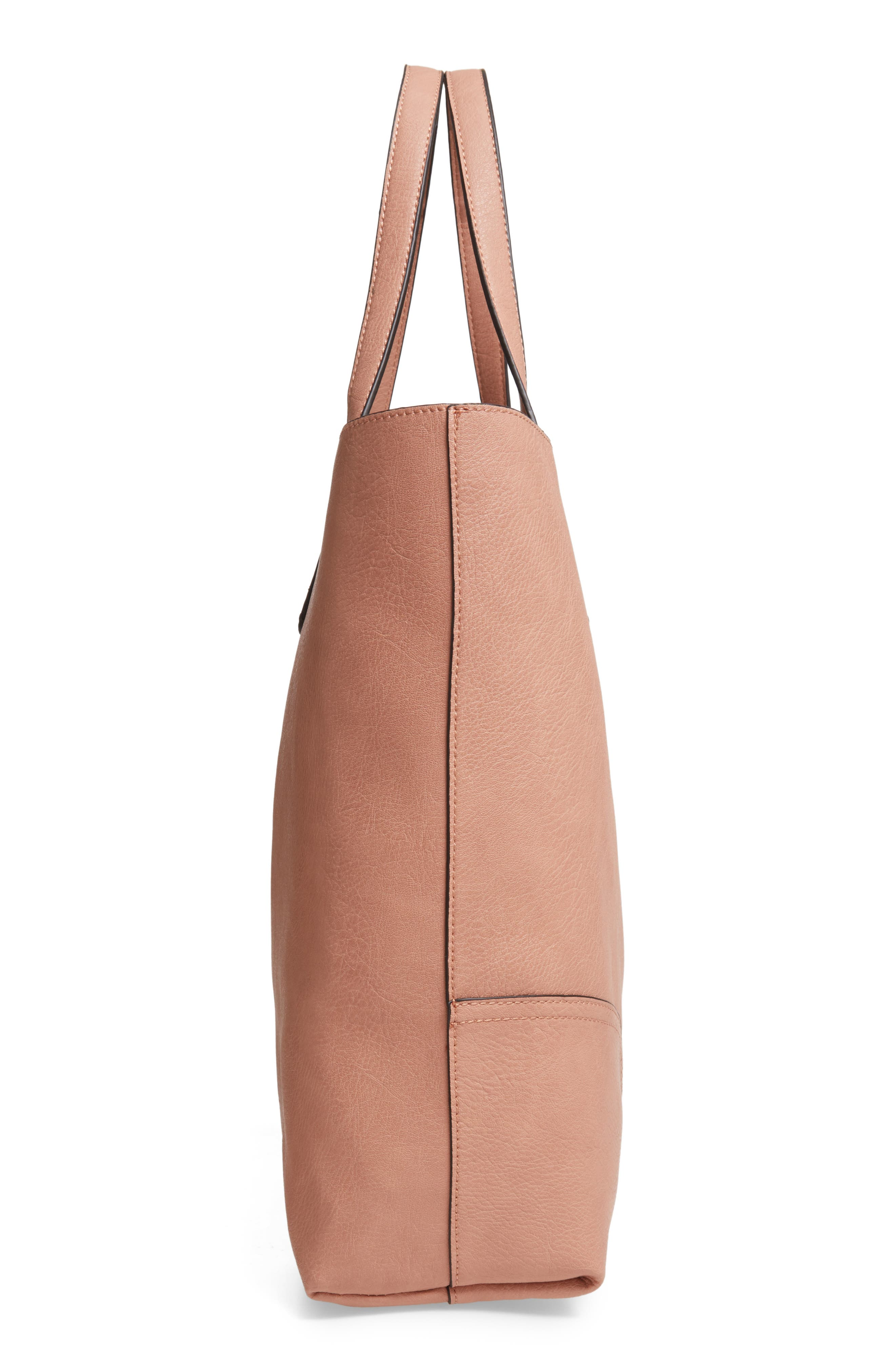SOLE SOCIETY, Lilyn Faux Leather Tote, Alternate thumbnail 6, color, CANYON