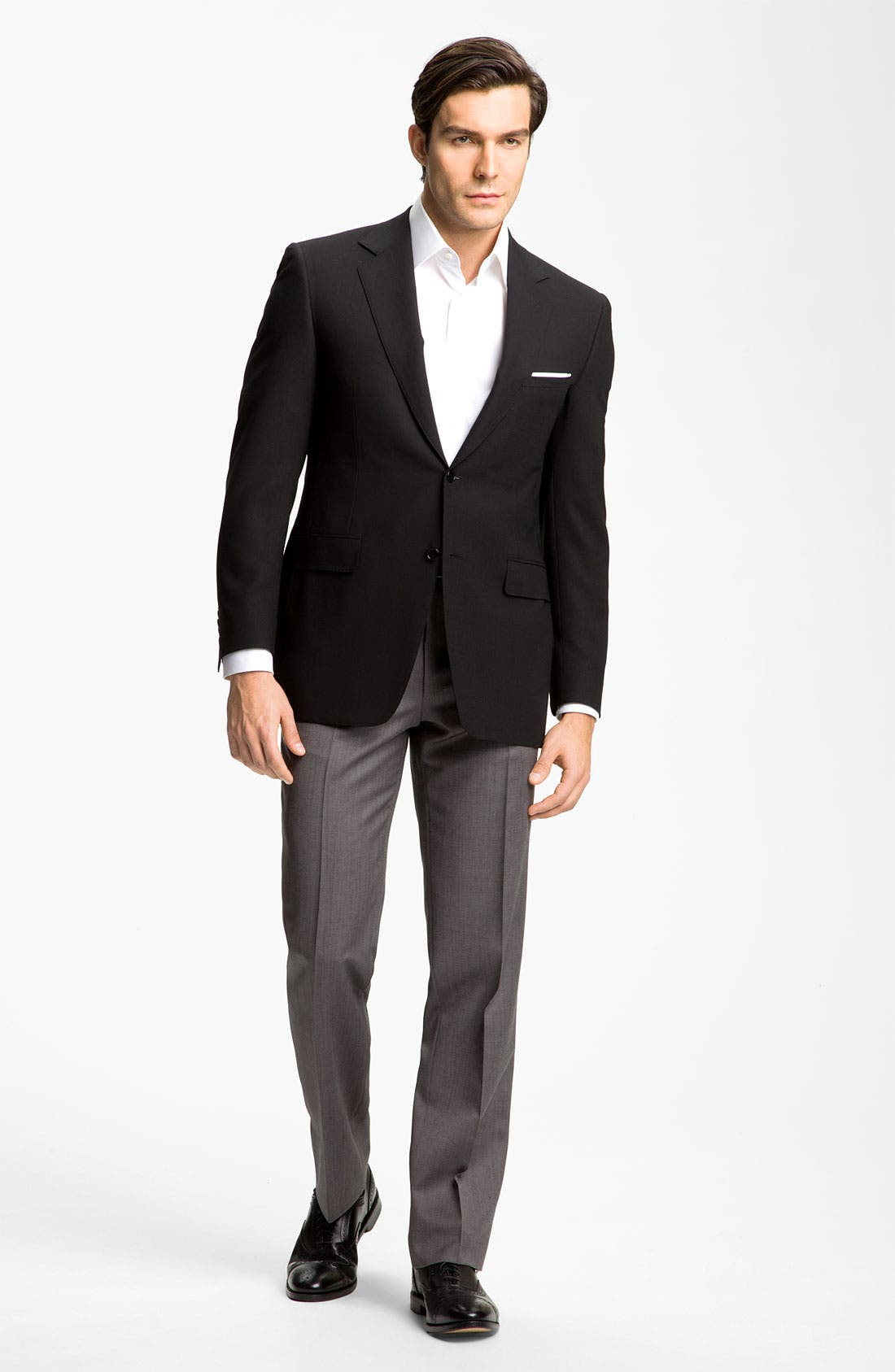 CANALI, Flat Front Wool Trousers, Alternate thumbnail 4, color, GREY