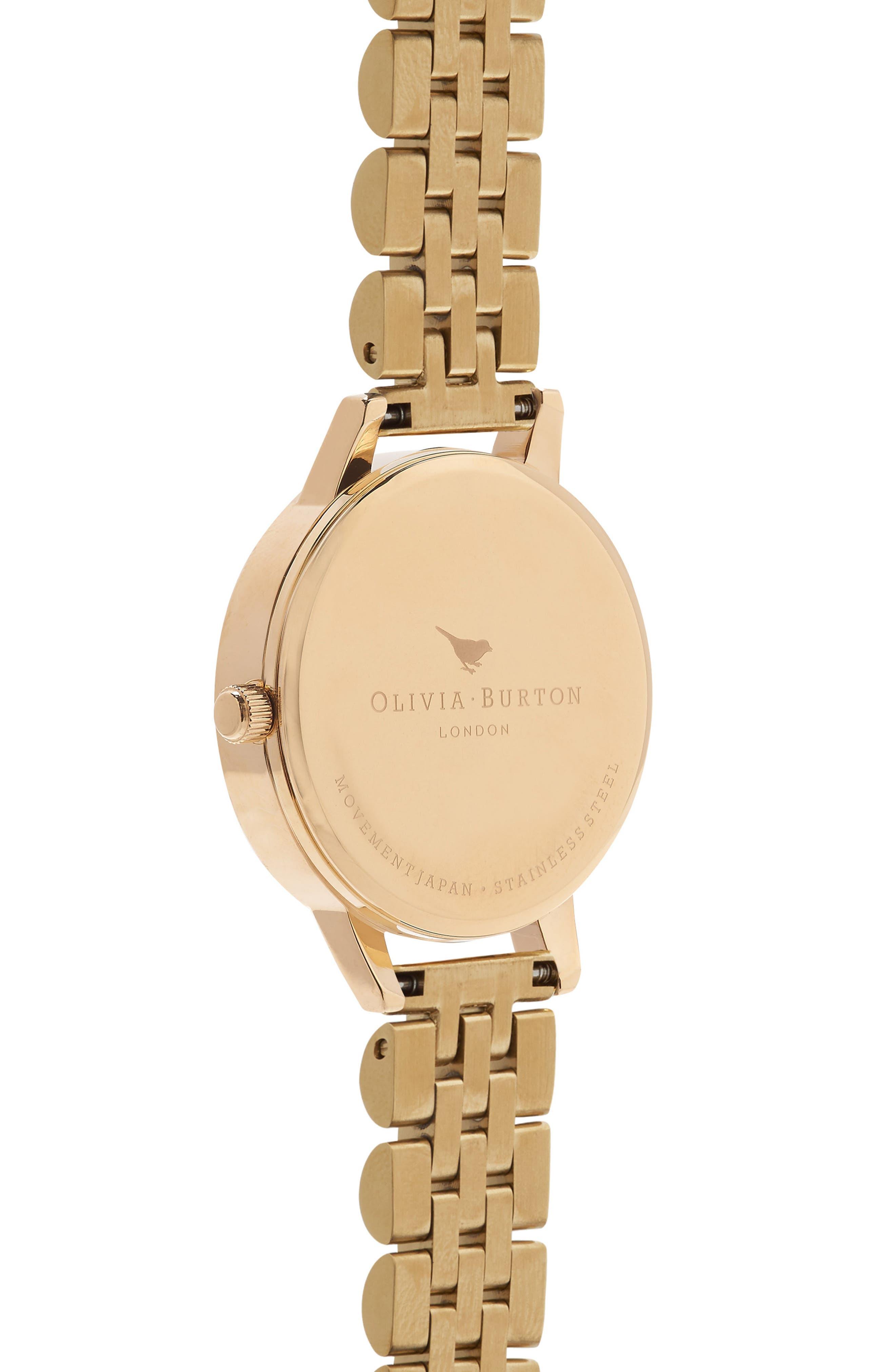OLIVIA BURTON, Wonderland Bracelet Watch, 30mm, Alternate thumbnail 3, color, GOLD/ NUDE/ GOLD