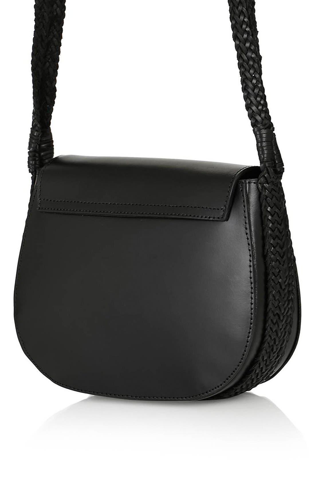 TOPSHOP, Woven Strap Leather Saddle Bag, Alternate thumbnail 5, color, 001