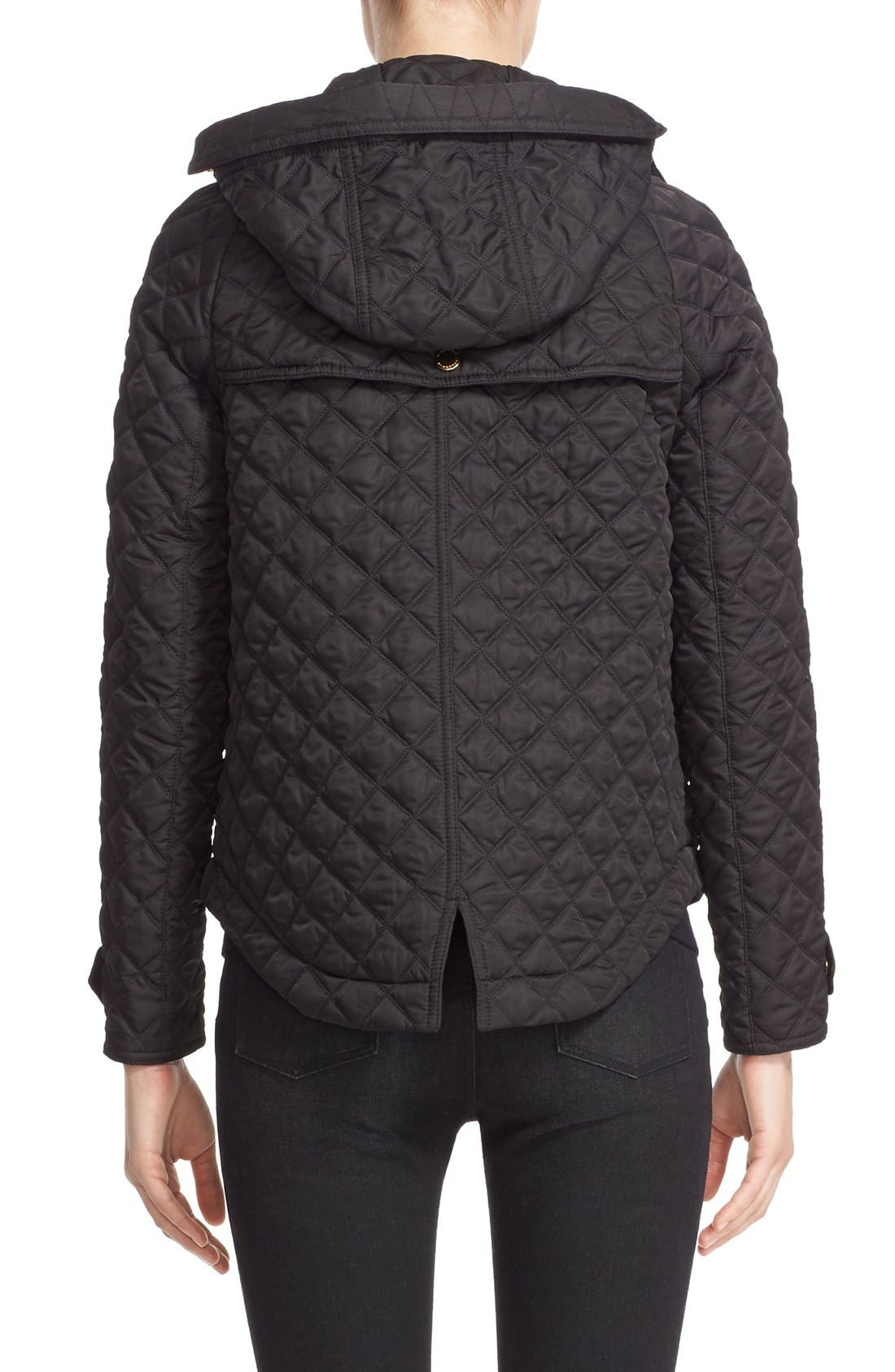 BURBERRY BRIT, 'Leightonbury' Quilted Hooded Jacket, Alternate thumbnail 4, color, 001