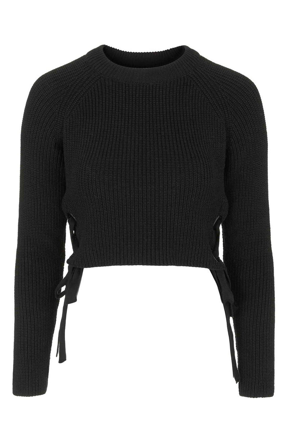 TOPSHOP, Side Tie Crop Sweater, Alternate thumbnail 2, color, 001