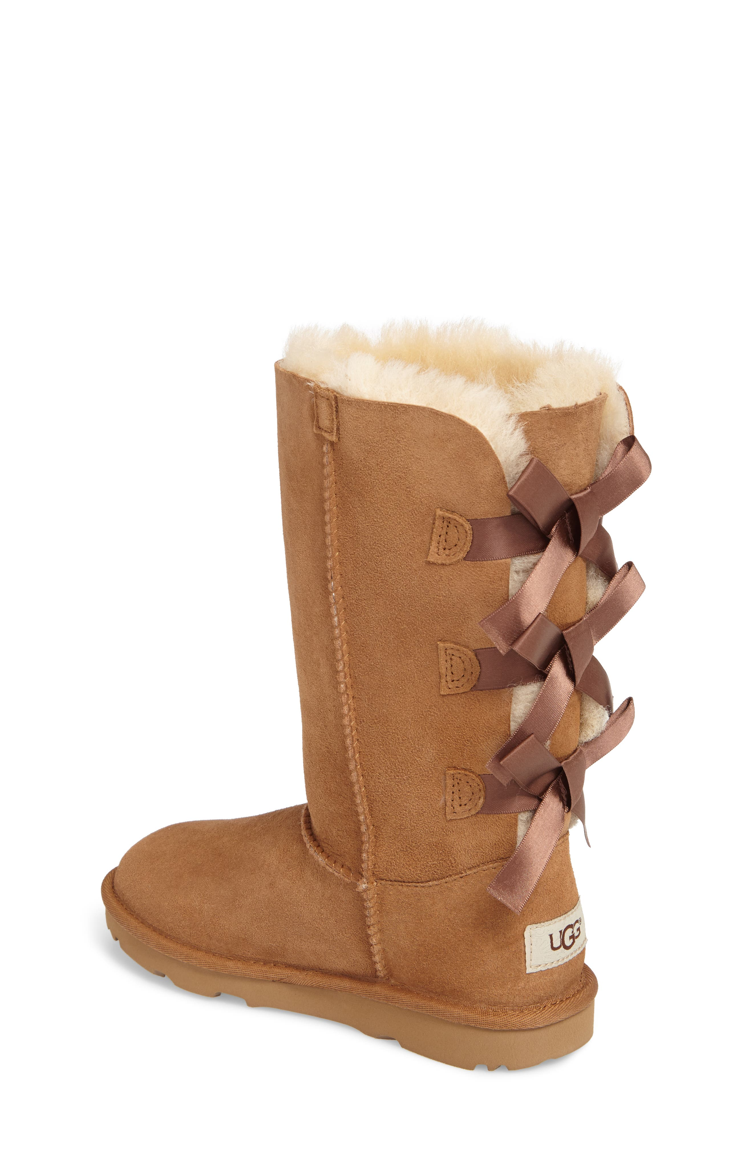 UGG<SUP>®</SUP>, Bailey Bow Tall II Water Resistant Genuine Shearling Boot, Alternate thumbnail 2, color, CHESTNUT BROWN