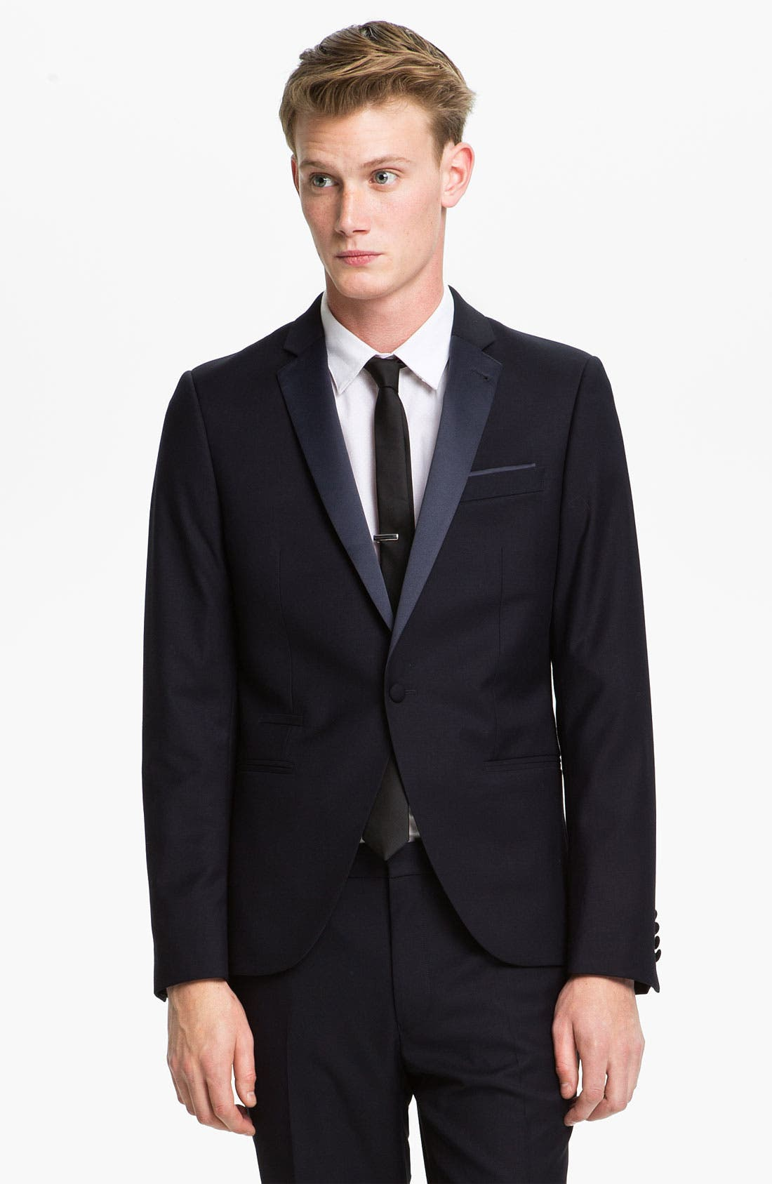 TOPMAN, Skinny Fit Single-Button Tuxedo Jacket, Main thumbnail 1, color, 410